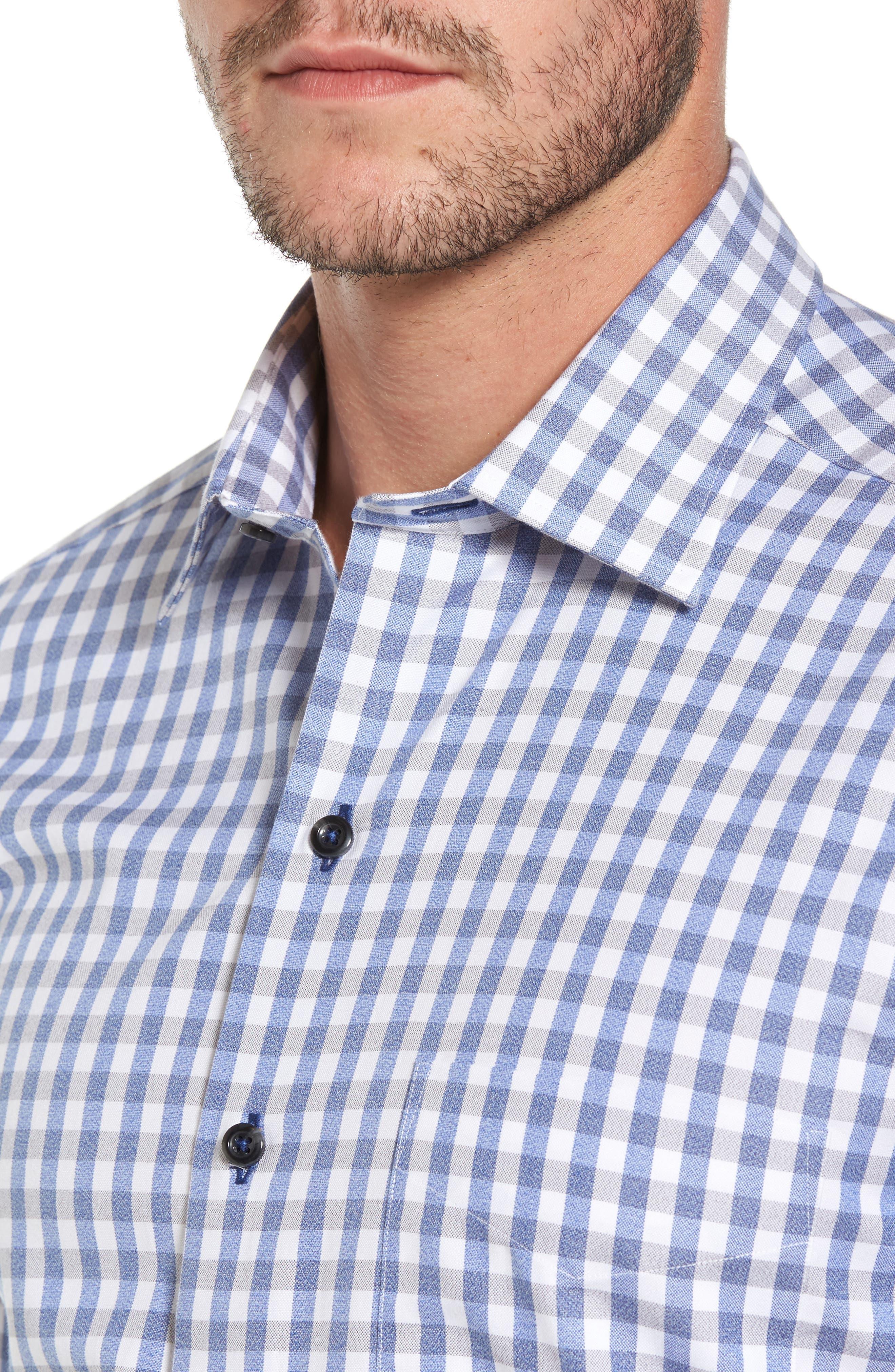 Gingham Sport Shirt,                             Alternate thumbnail 4, color,                             Blue