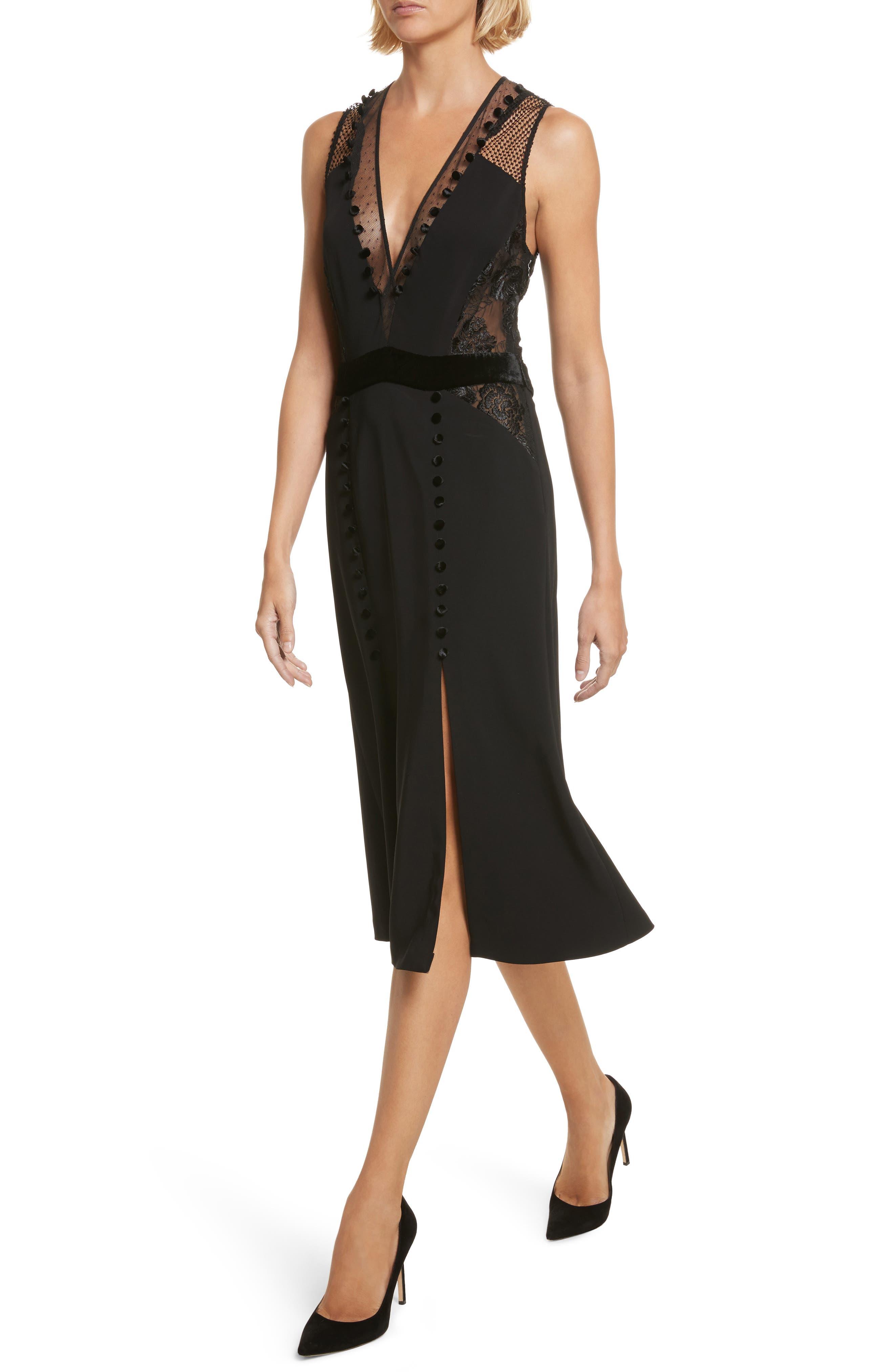 Harlow Velvet Button Dress,                             Alternate thumbnail 3, color,                             Black