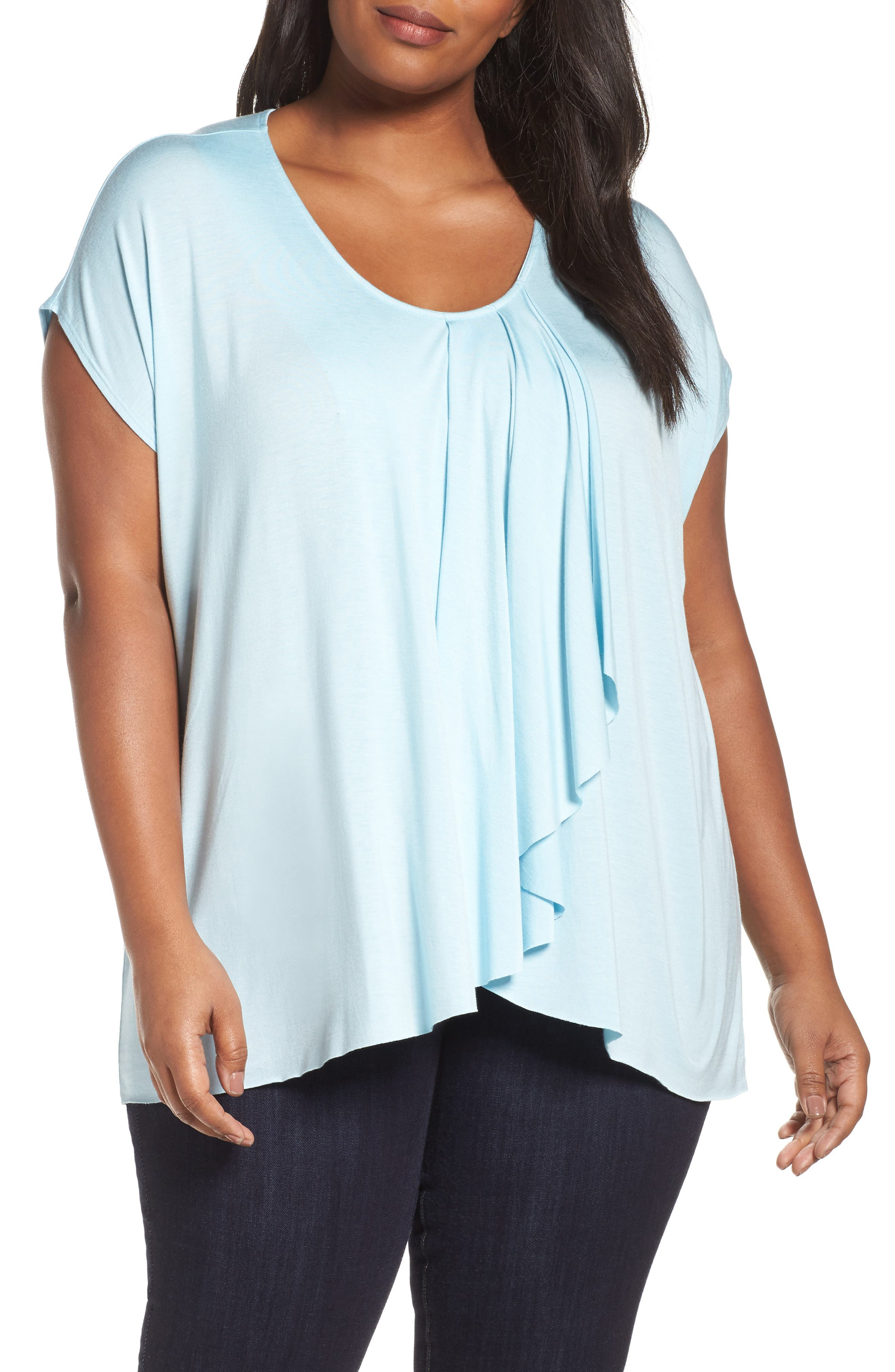 Pleat Front Tee,                         Main,                         color, Blue Crystal