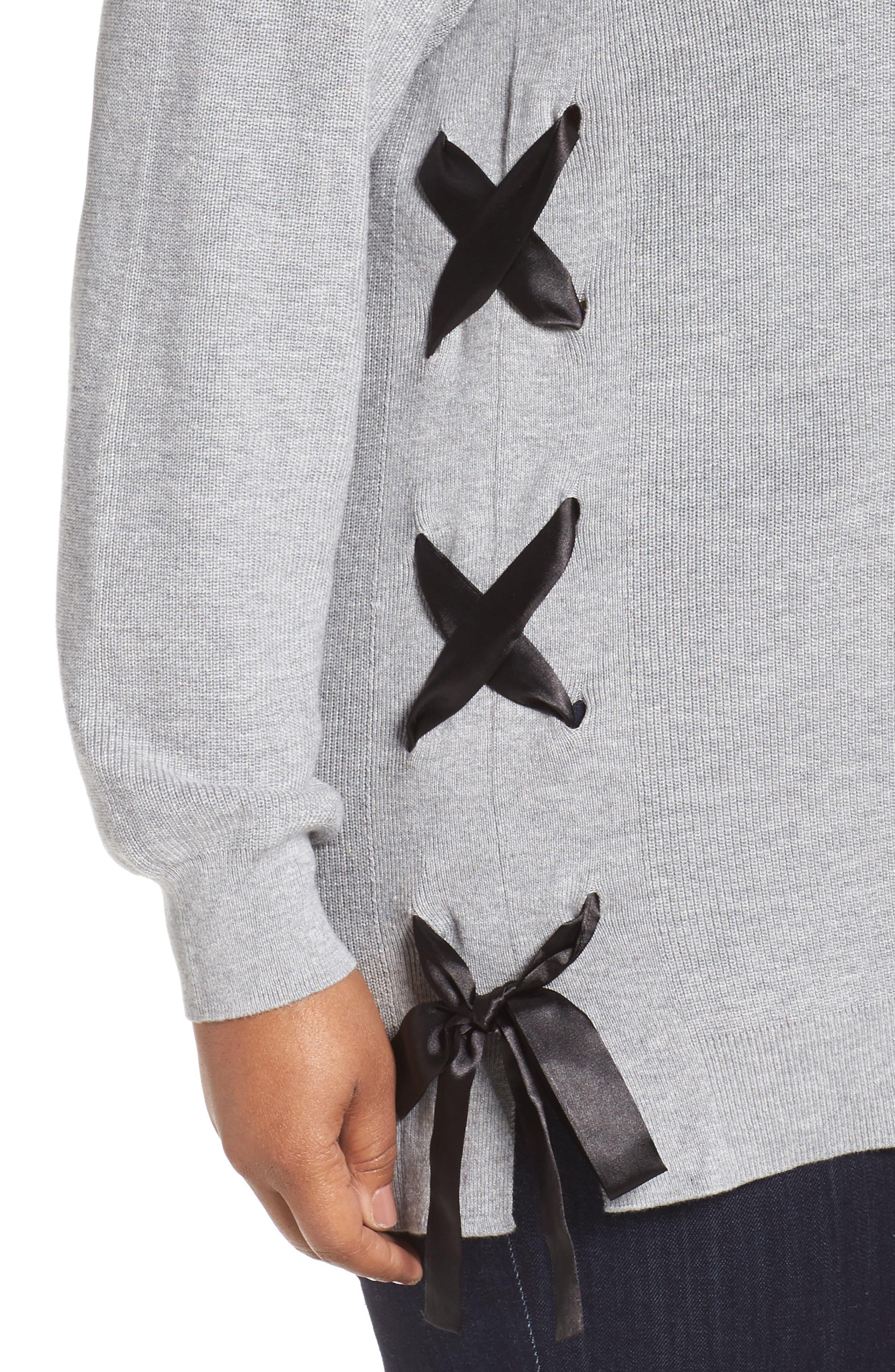 Alternate Image 4  - Sejour Lace-Up Pullover (Plus Size)