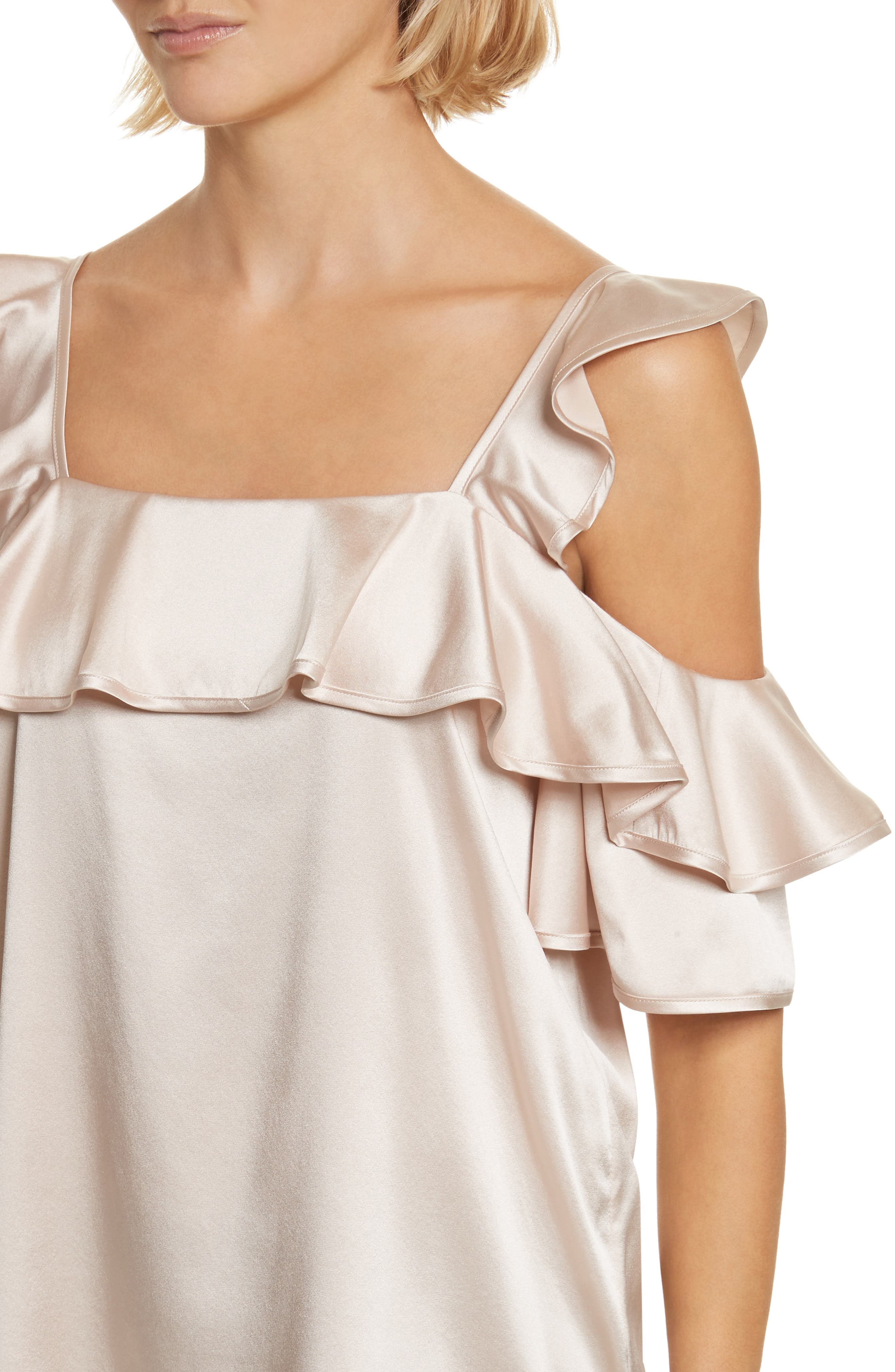 Willow Silk Blend Cold Shoulder Top,                             Alternate thumbnail 4, color,                             Powder