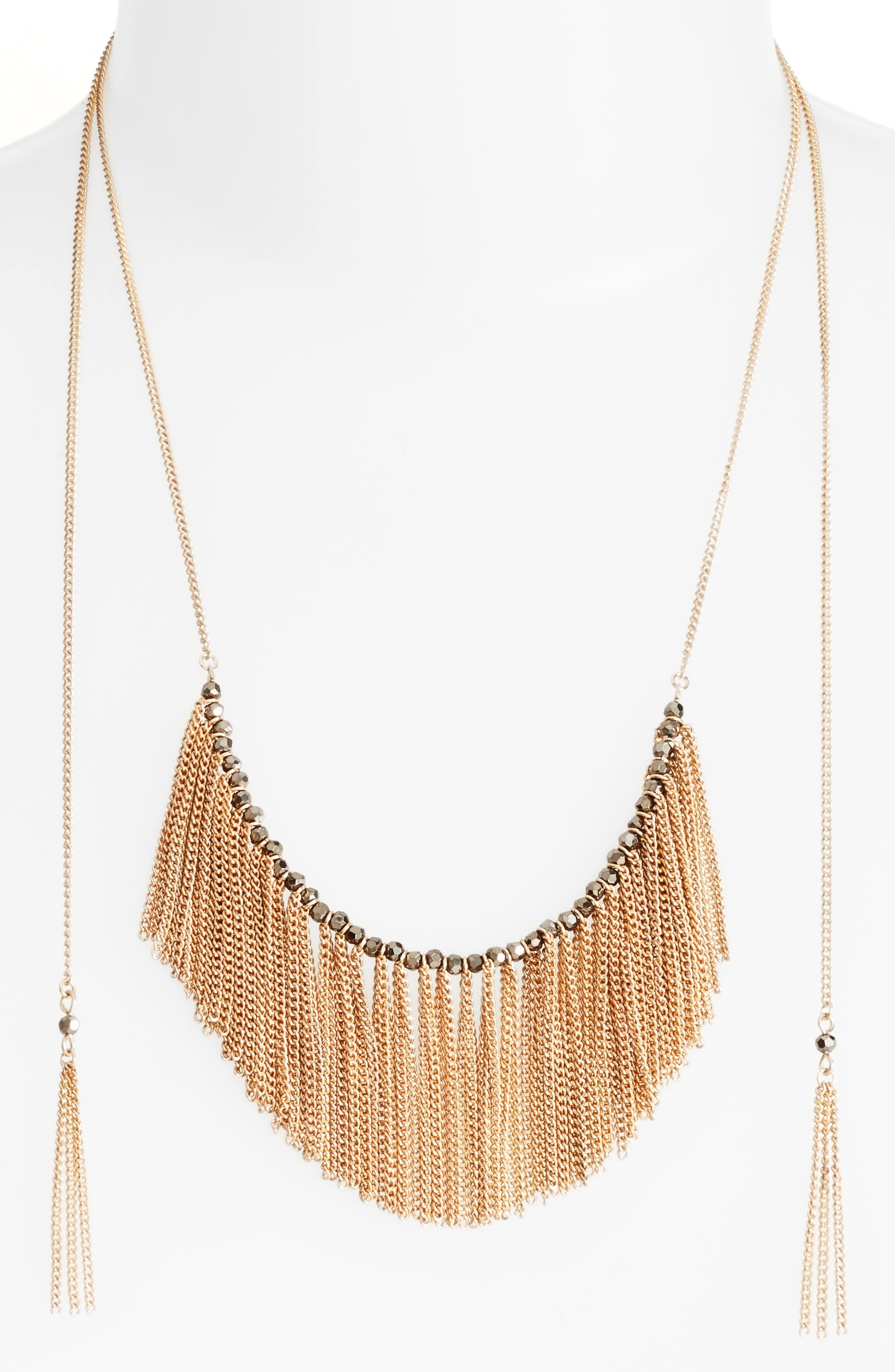 Treasure & Bond Fringe Stone Adjustable Slide Necklace