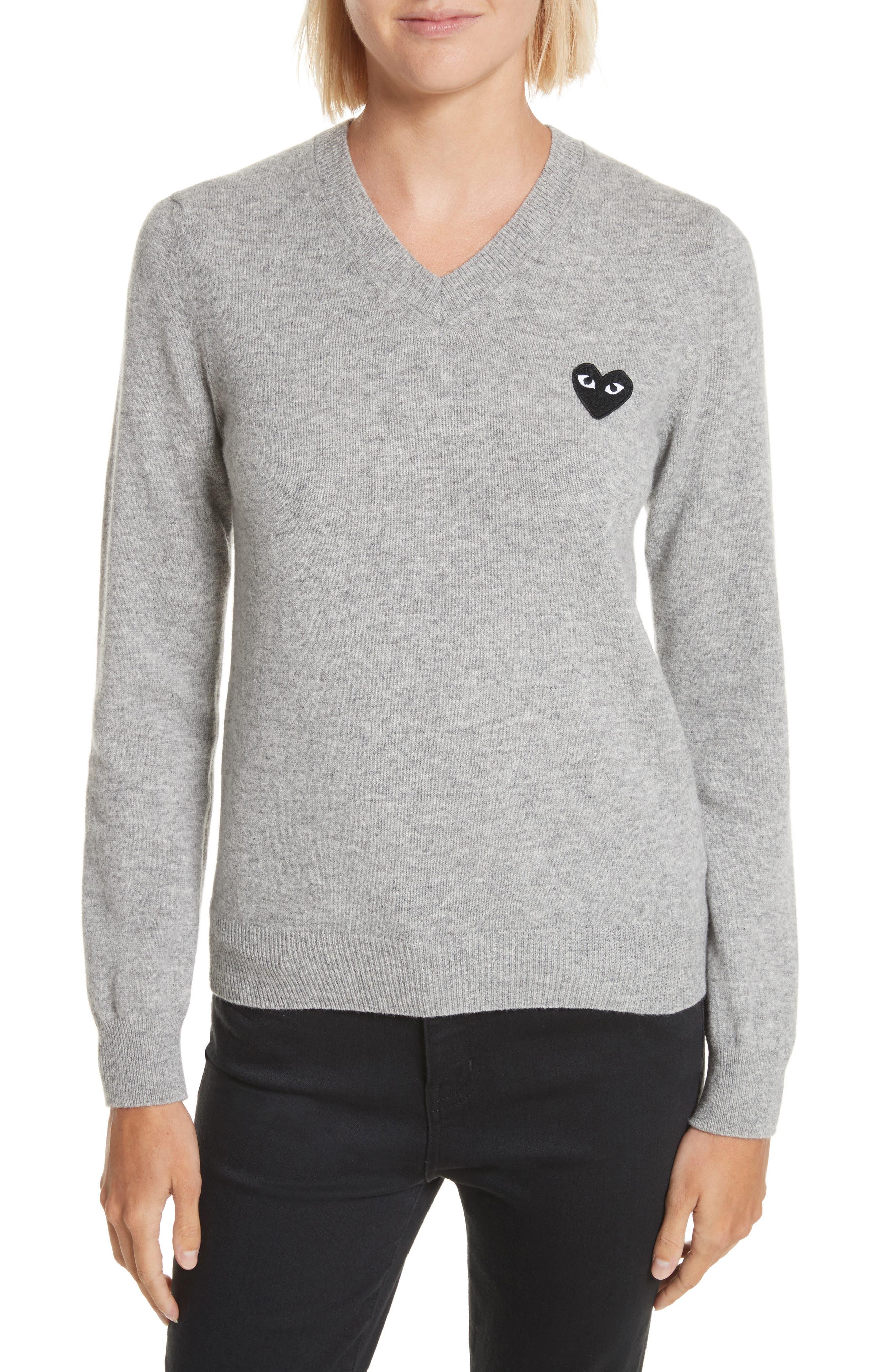 Comme des Garçons PLAY Heart Wool Pullover,                         Main,                         color, Light Grey