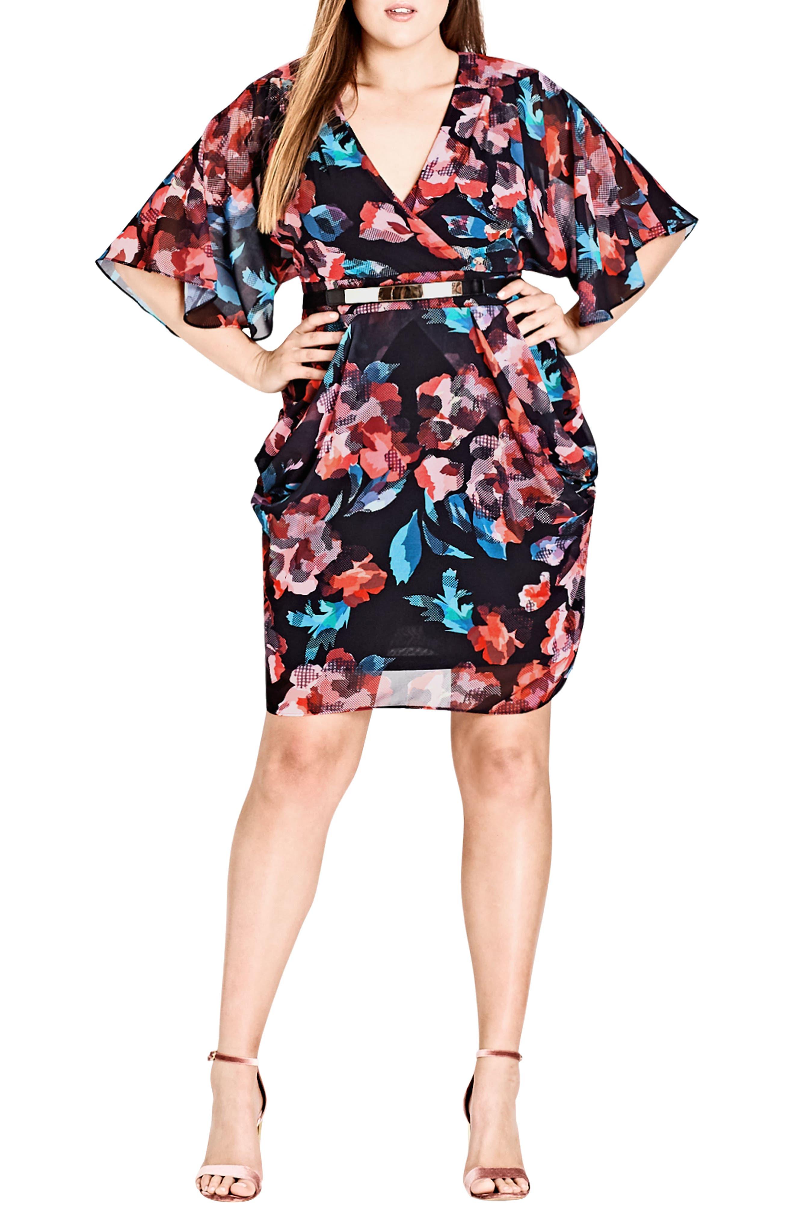 Geo Print Faux Wrap Dress,                             Main thumbnail 1, color,                             Wrap Geo
