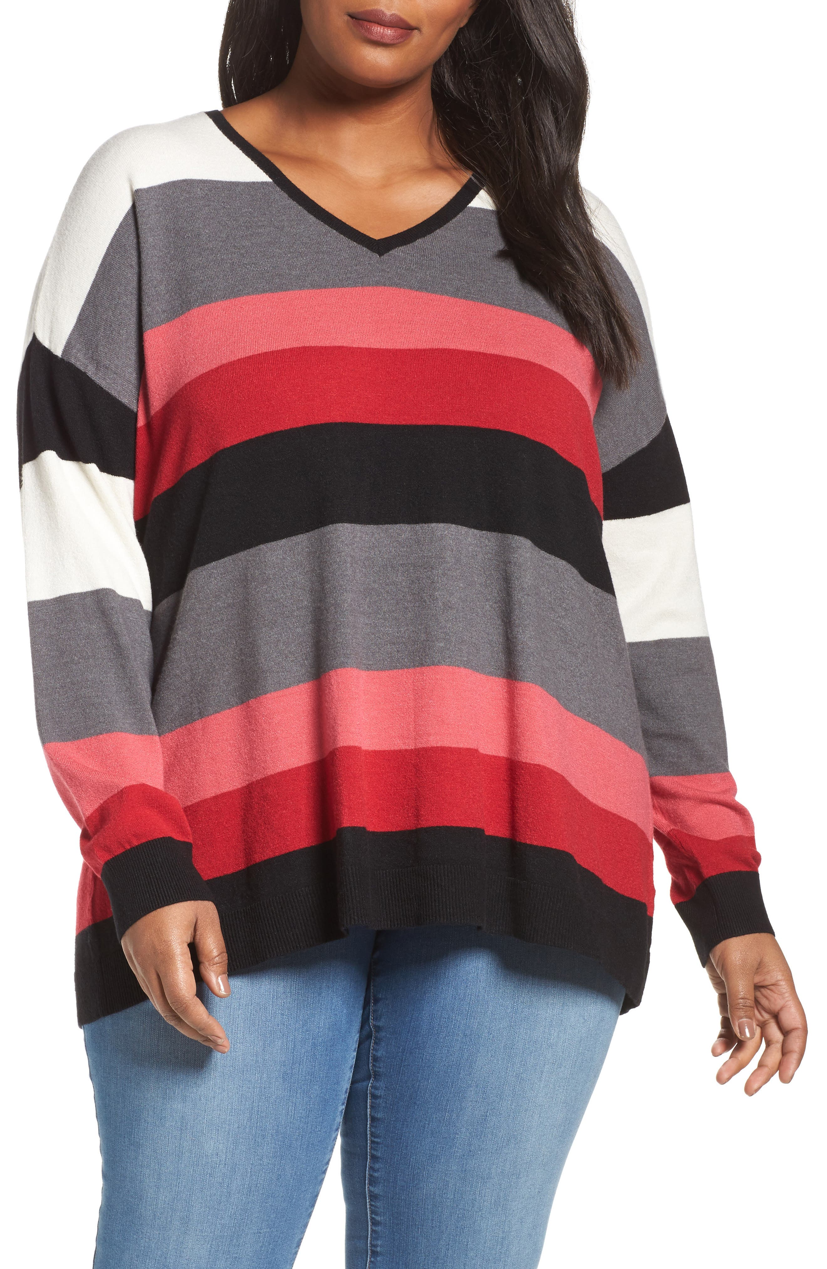 V-Neck Drop Shoulder Pullover,                         Main,                         color, Red Multi Pop Stripe