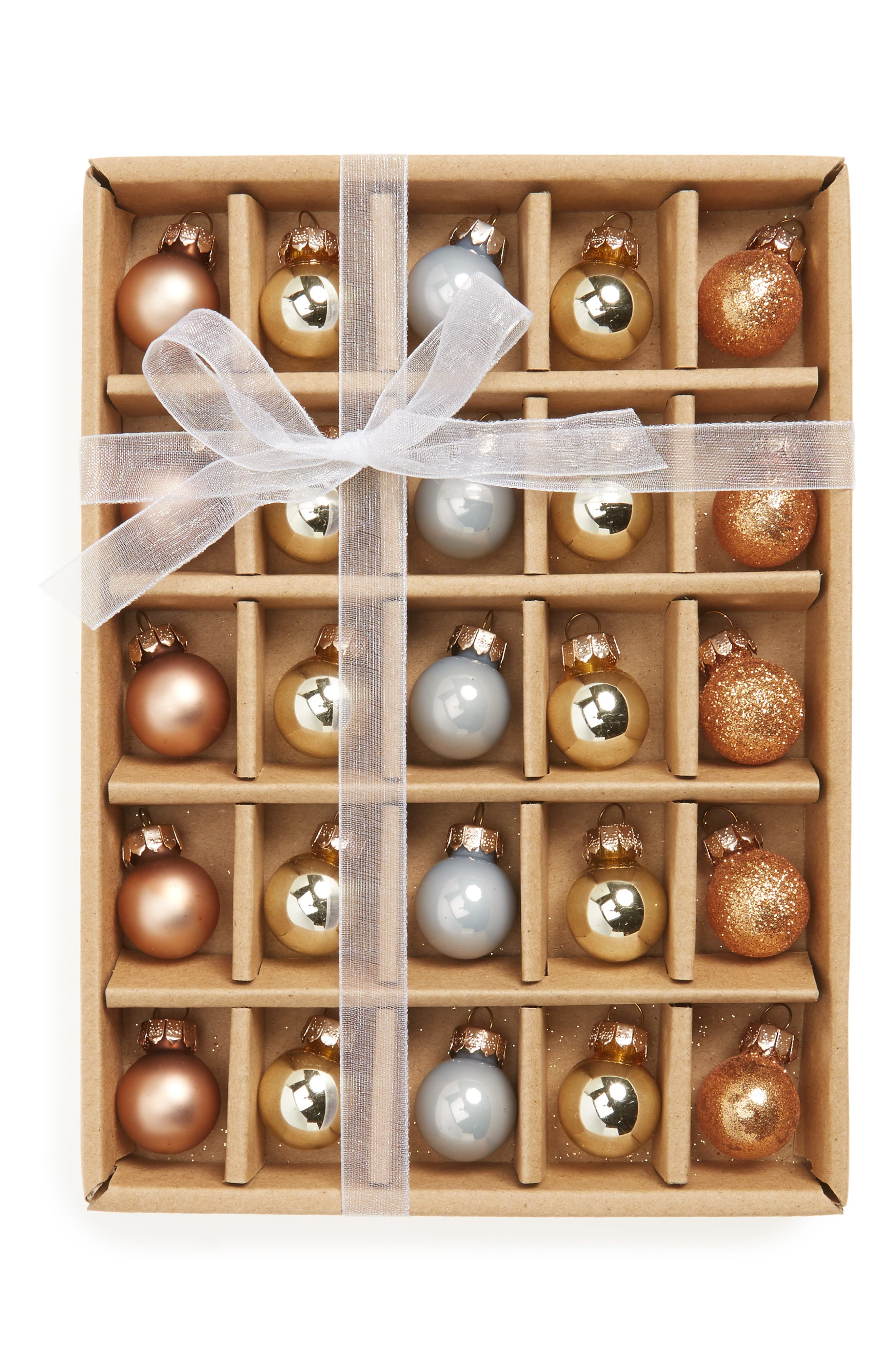 Kat & Annie Set of 25 Mini Ball Ornaments,                             Main thumbnail 1, color,                             Gold
