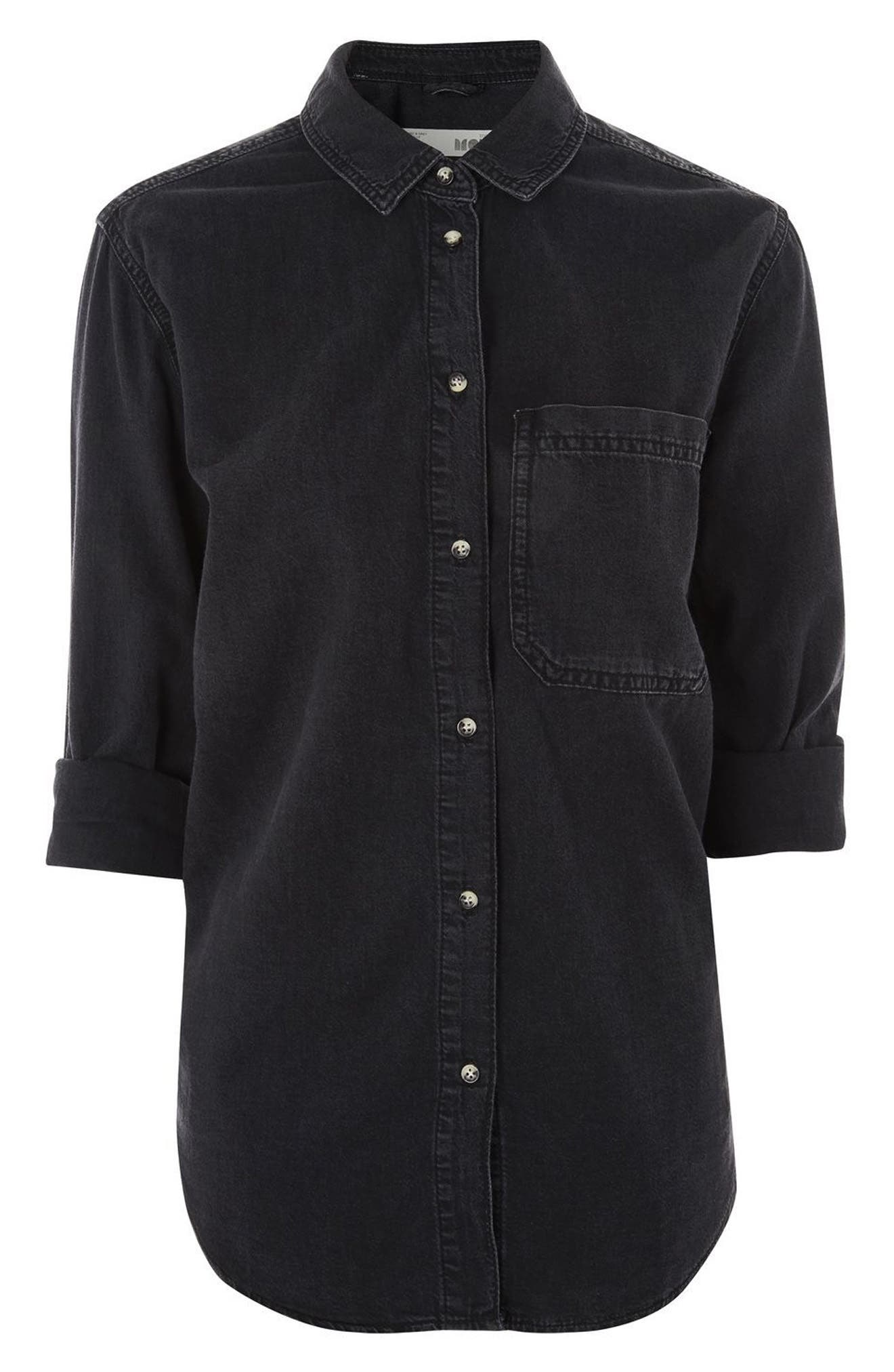Drake Oversize Denim Shirt,                             Alternate thumbnail 4, color,                             Washed Black