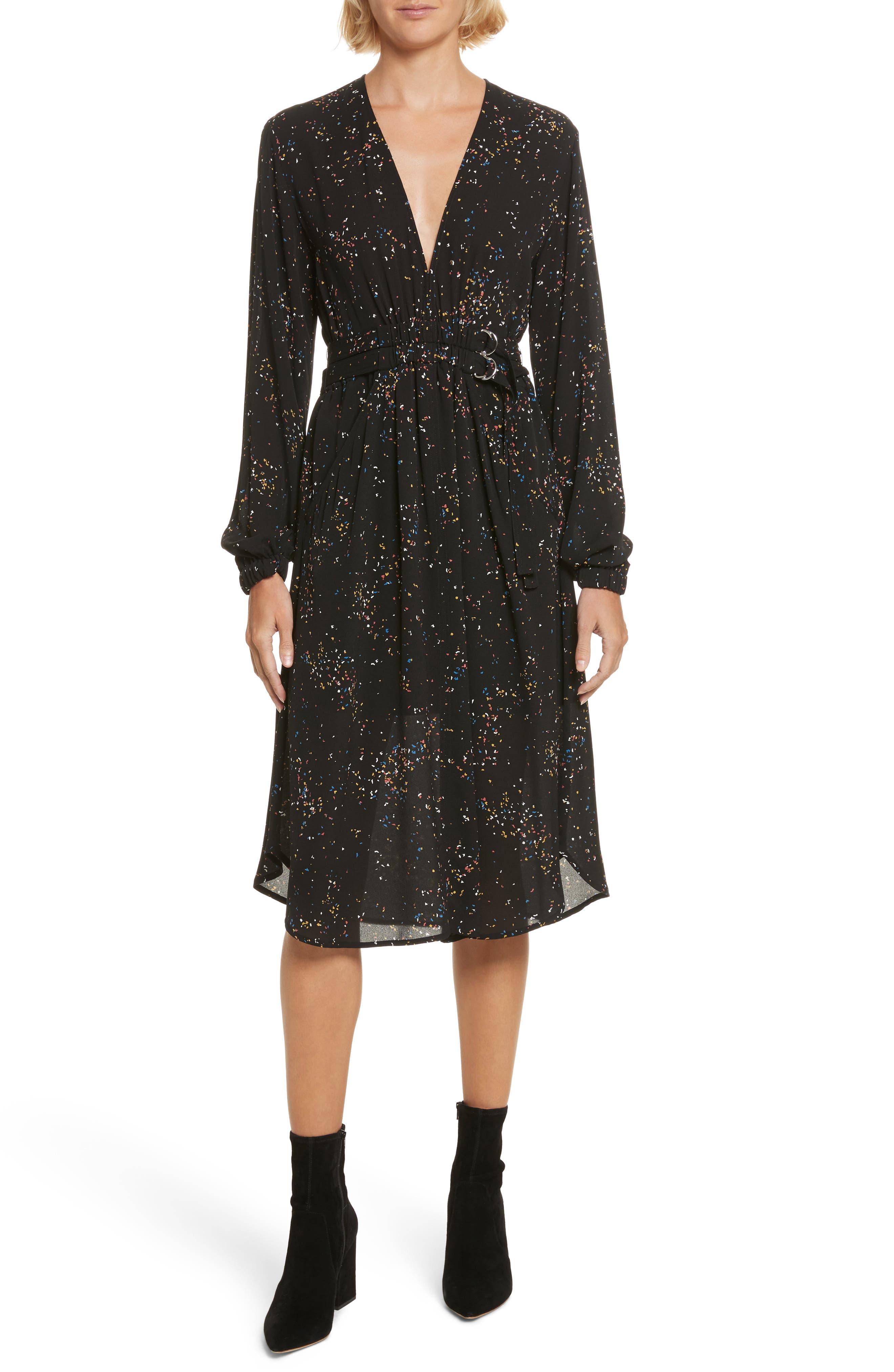 Samantha Print Silk Dress,                             Main thumbnail 1, color,                             Black Multi