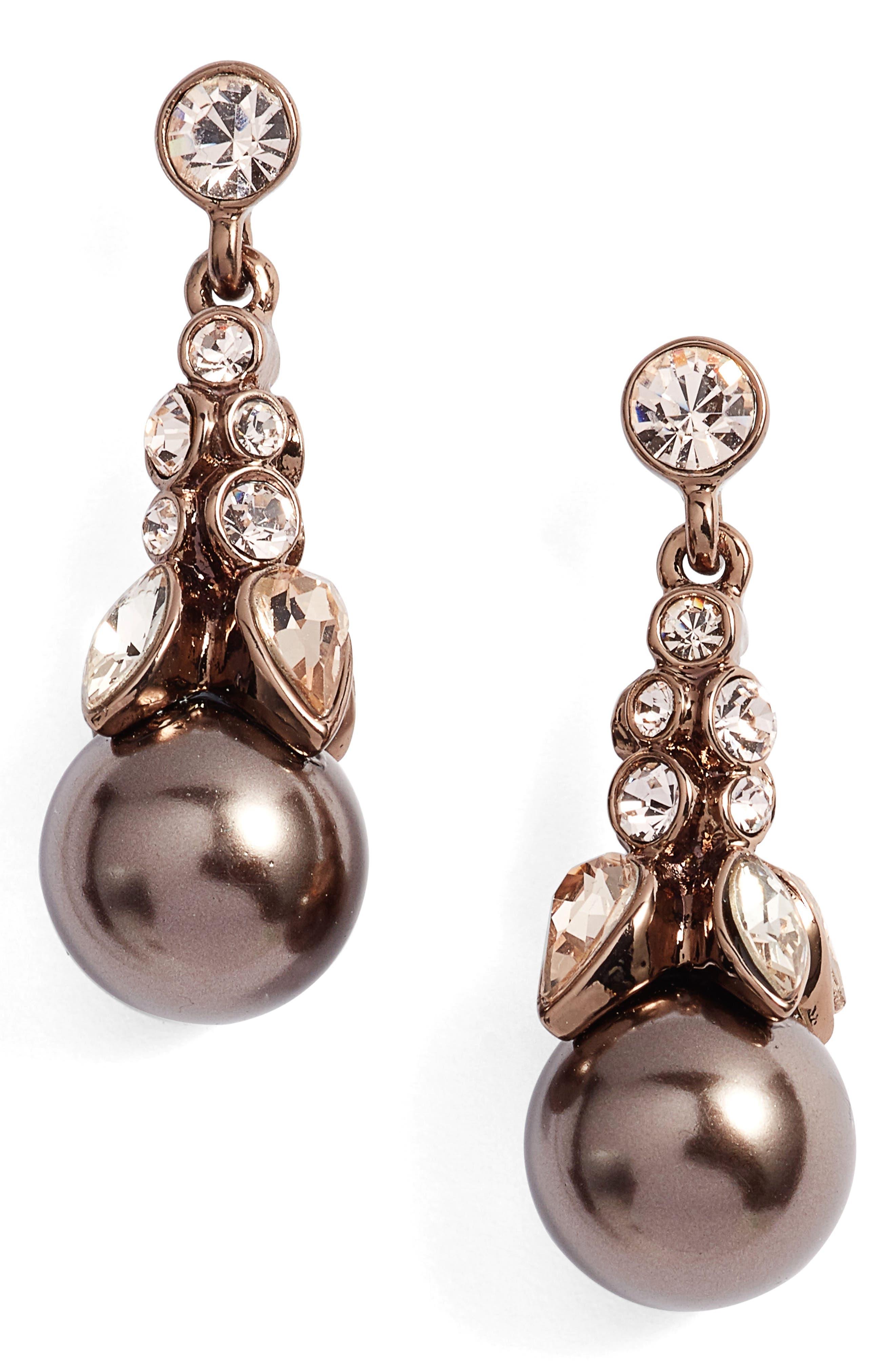 Crystal Drop Earrings,                         Main,                         color, Brown