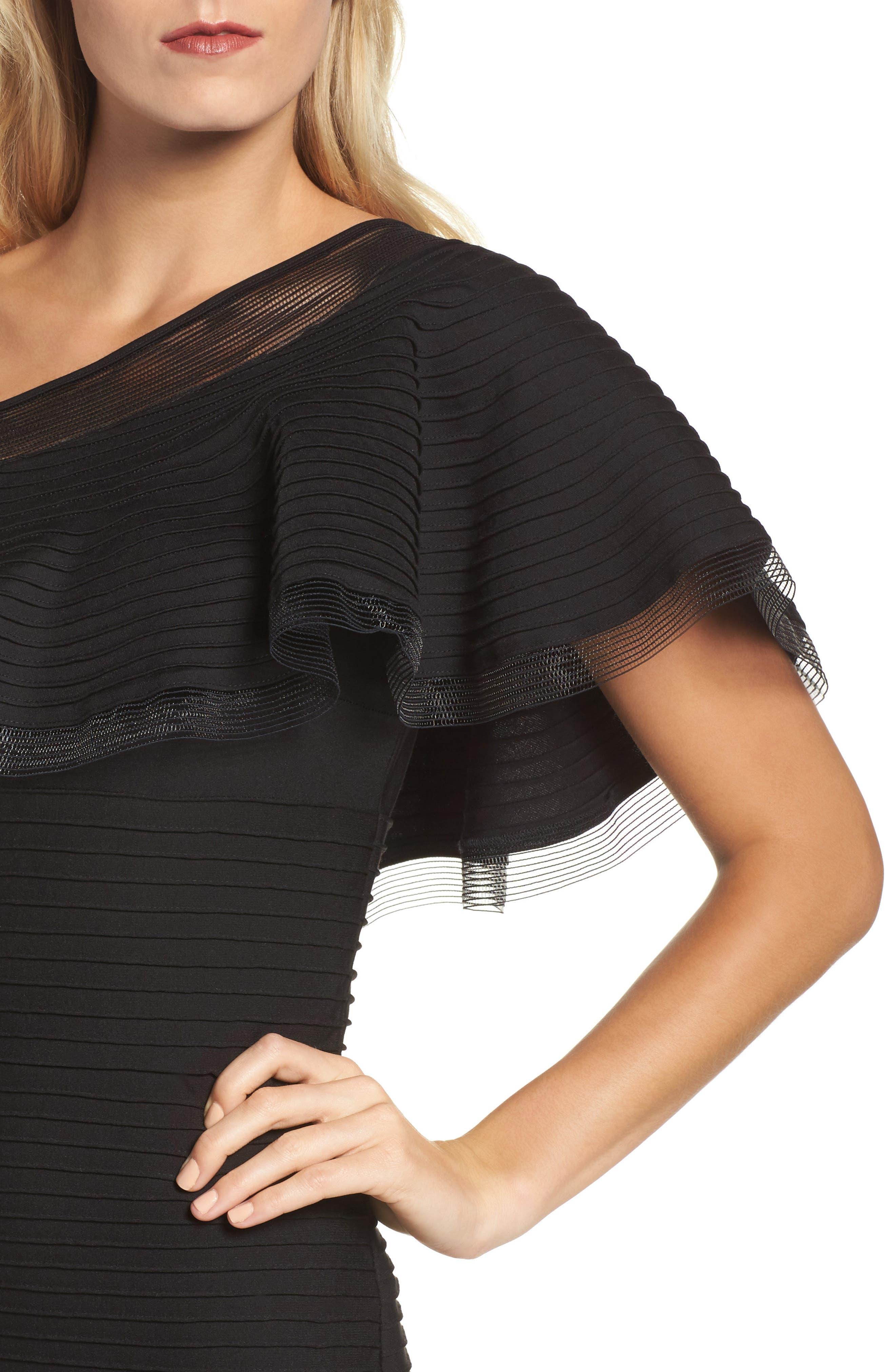 Alternate Image 4  - Tadashi Shoji Pintuck One-Shoulder Gown (Regular & Petite)
