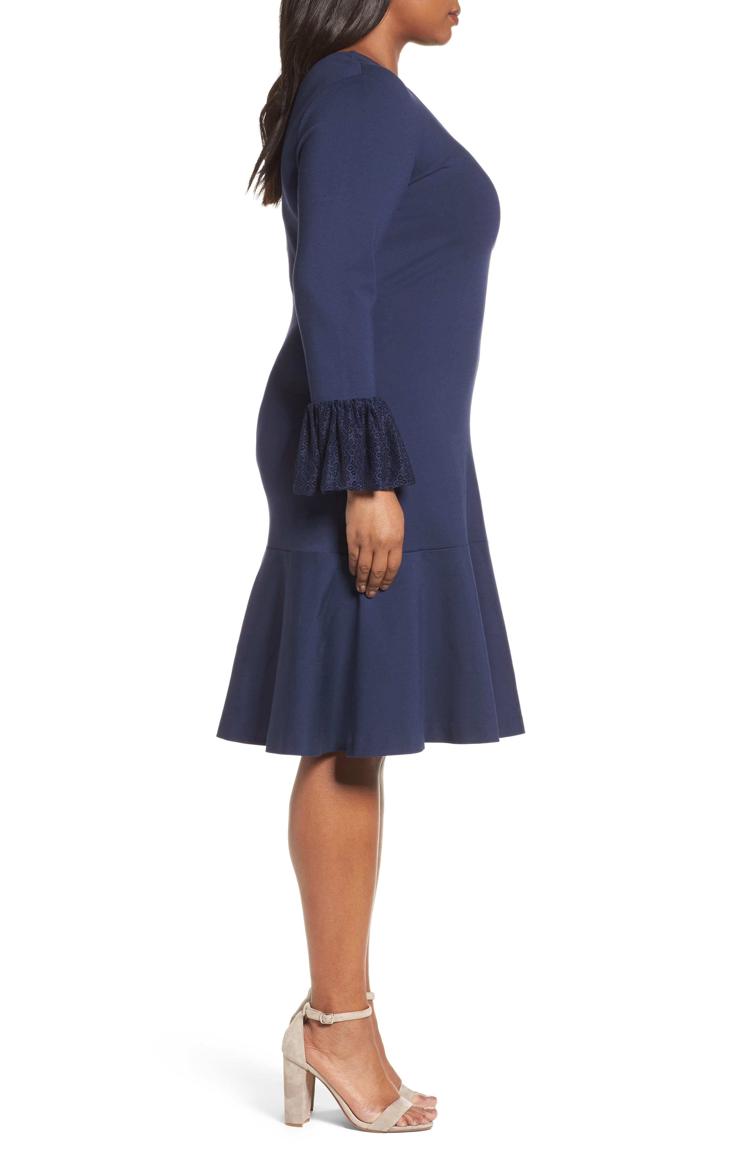 Alternate Image 3  - Sejour Flounce Hem Dress (Plus Size)