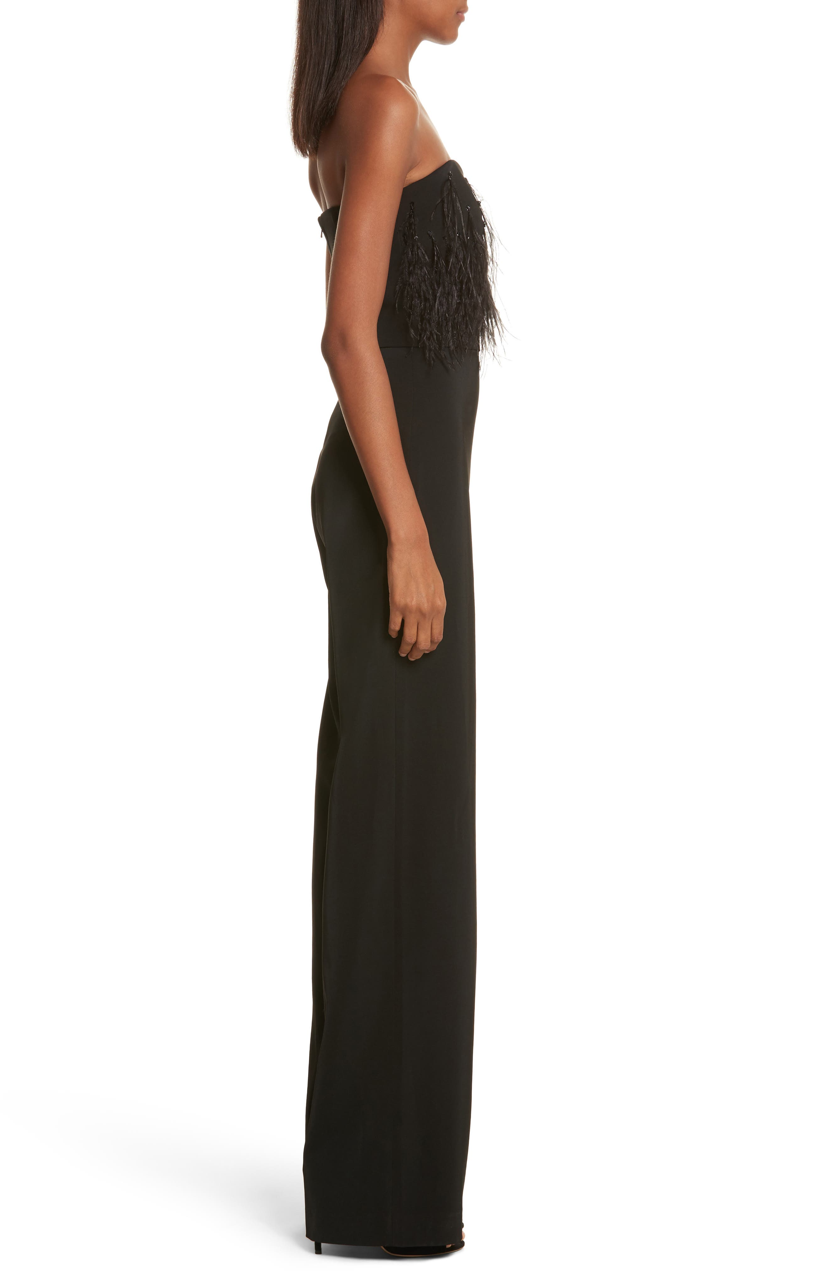 Faux Feather Trim Satin Backed Crepe Strapless Jumpsuit,                             Alternate thumbnail 3, color,                             Black Feather