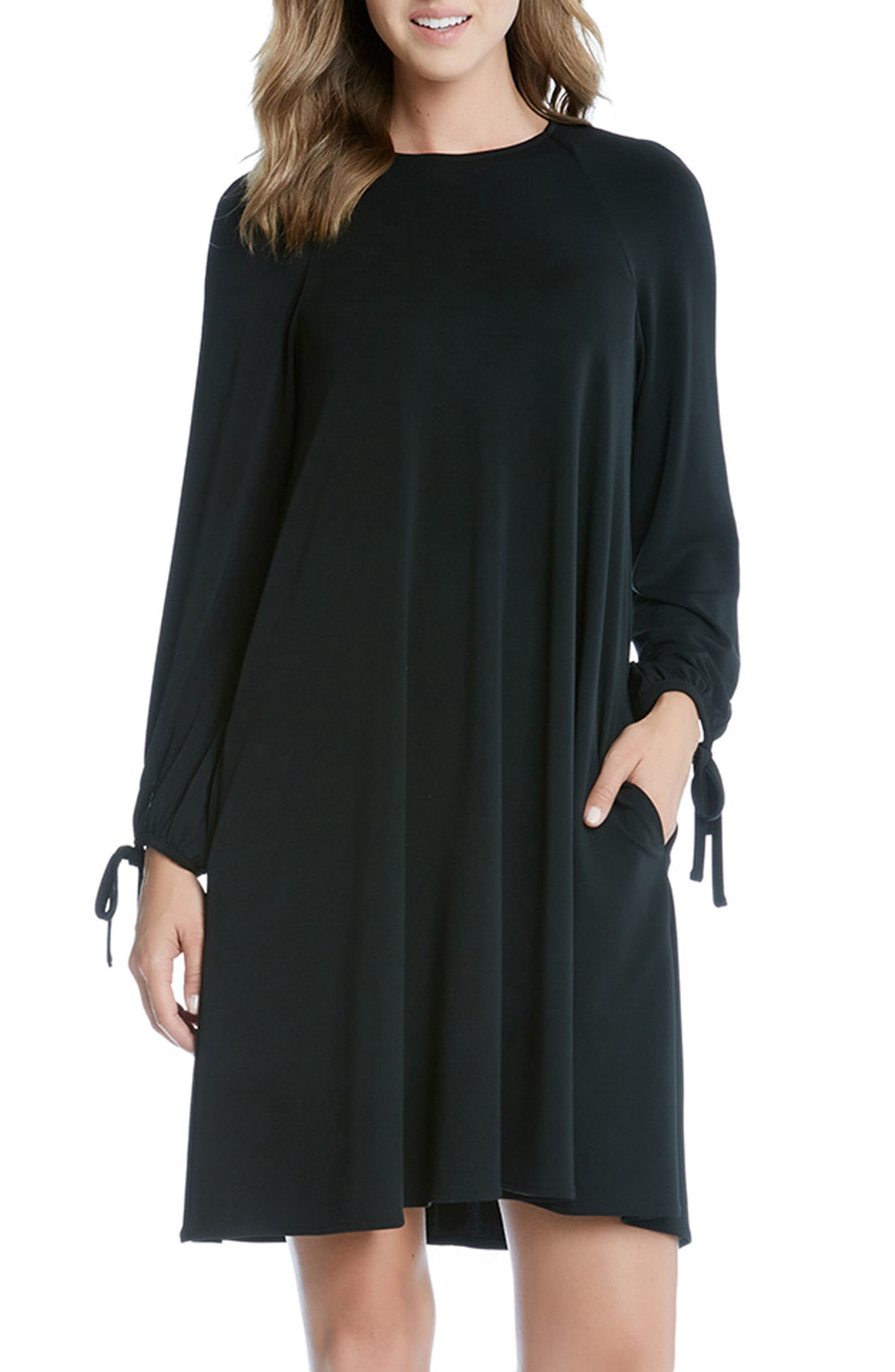 Tie Sleeve Swing Dress,                             Main thumbnail 1, color,                             Black
