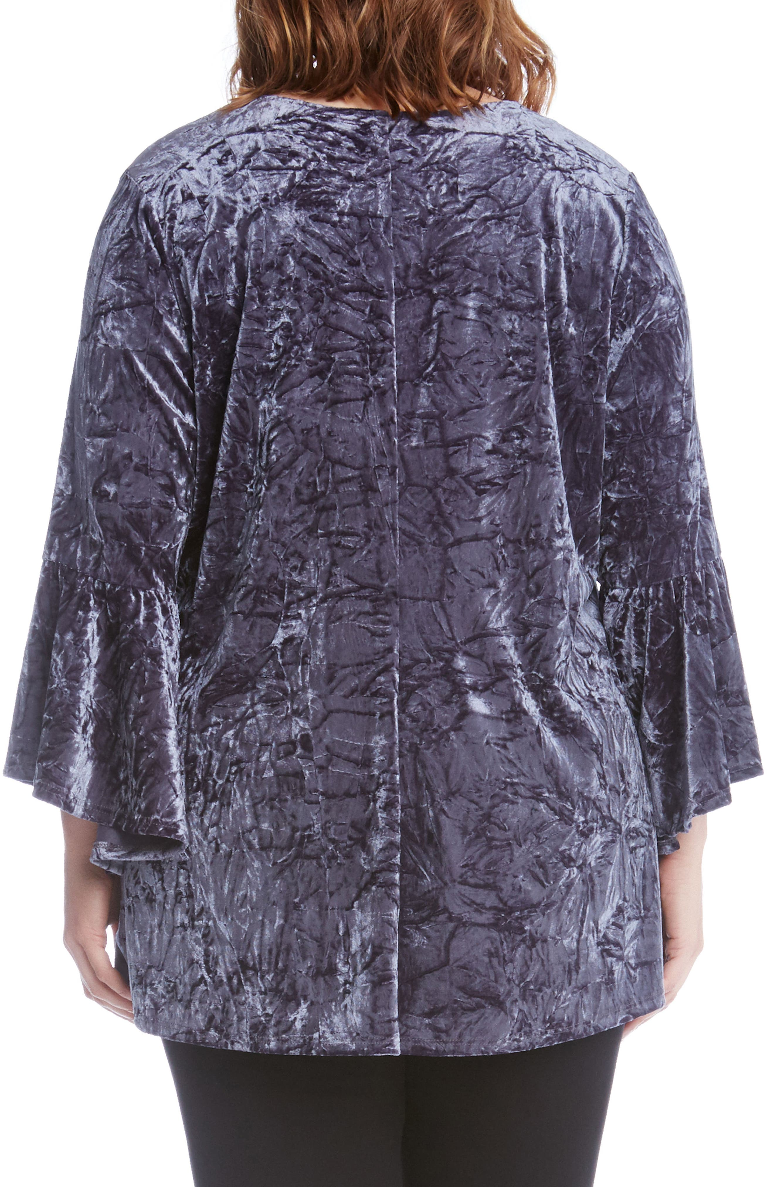 Alternate Image 3  - Karen Kane Bell Sleeve Crushed Velvet Top (Plus Size)