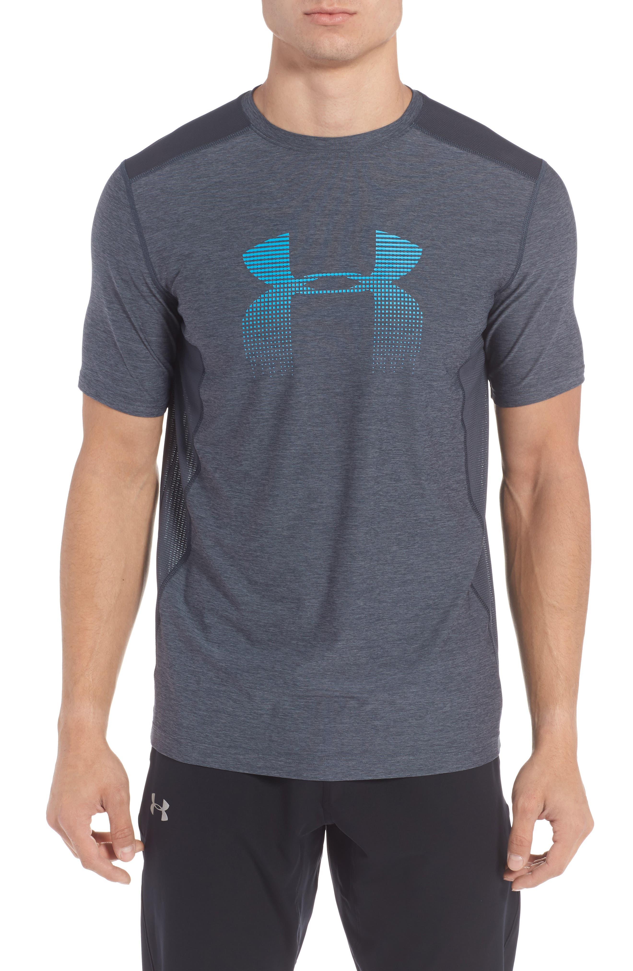 Raid Graphic T-Shirt,                         Main,                         color, Stealth Grey / / Blue Shift