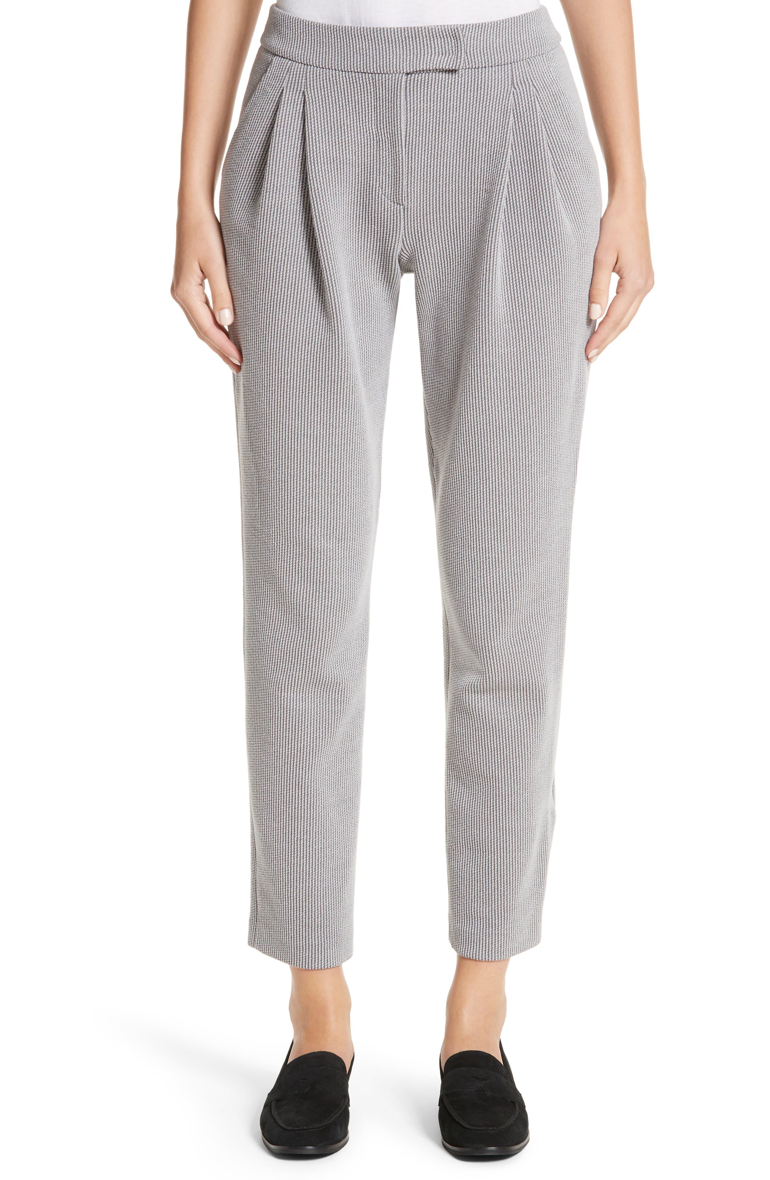 Pleated Stripe Jacquard Pants,                         Main,                         color, Grey Multi