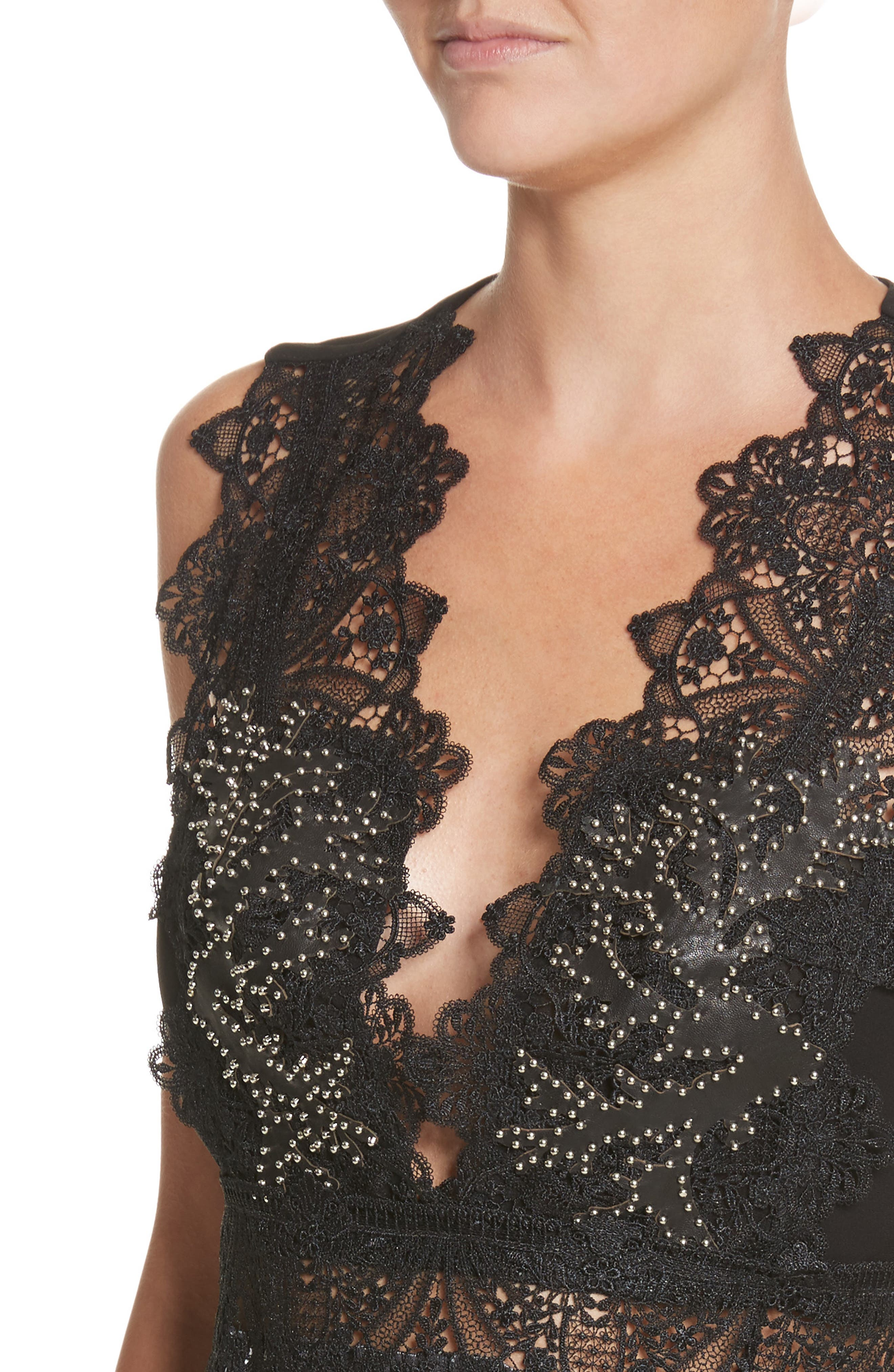 Alternate Image 4  - Yigal Azrouël Studded Coral Embroidered Pleated Top