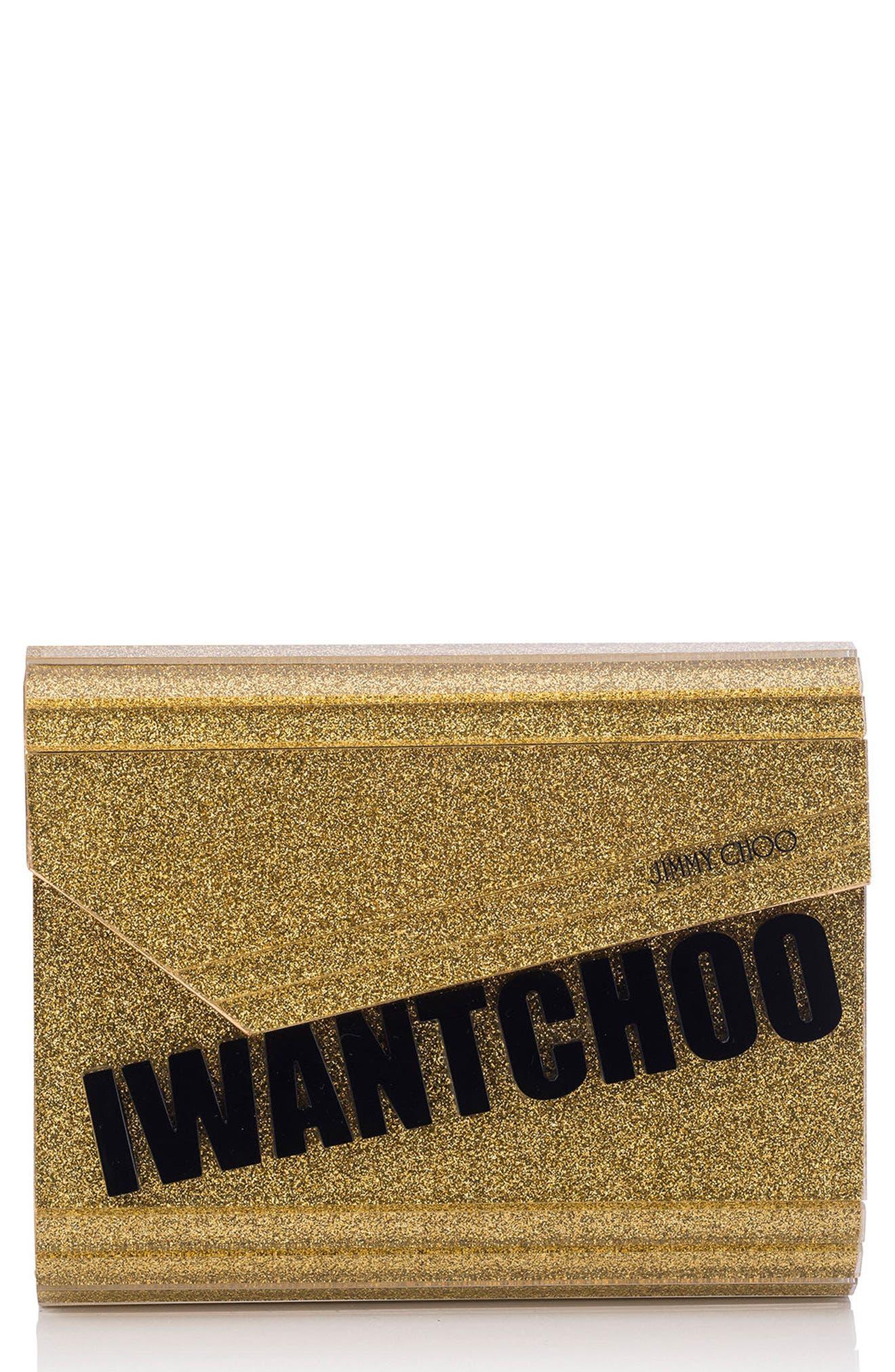 Alternate Image 1 Selected - Jimmy Choo Candy I Want Choo Glitter Clutch