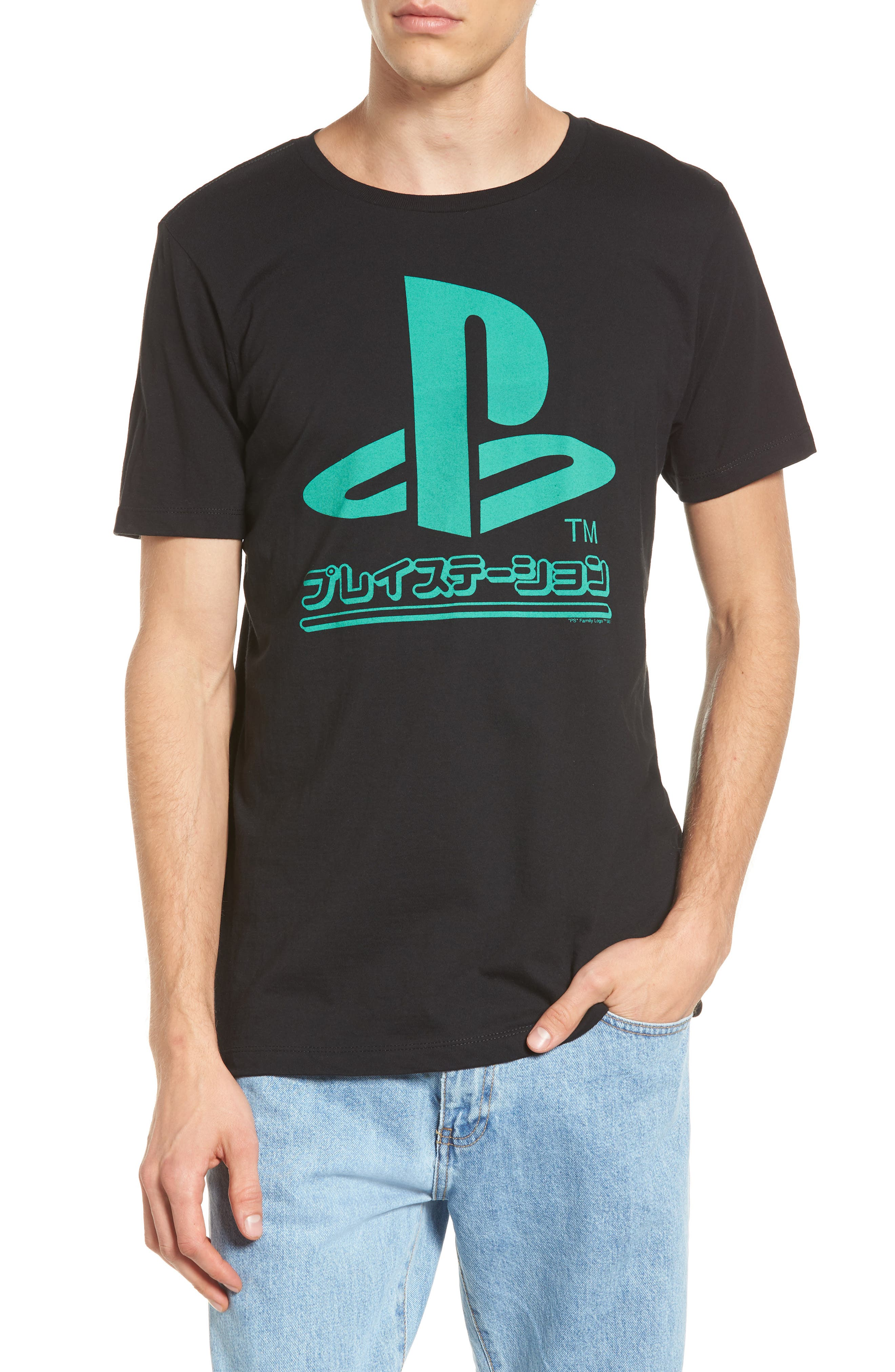 Retro Graphic T-Shirt,                         Main,                         color, Black Playstation Graphic
