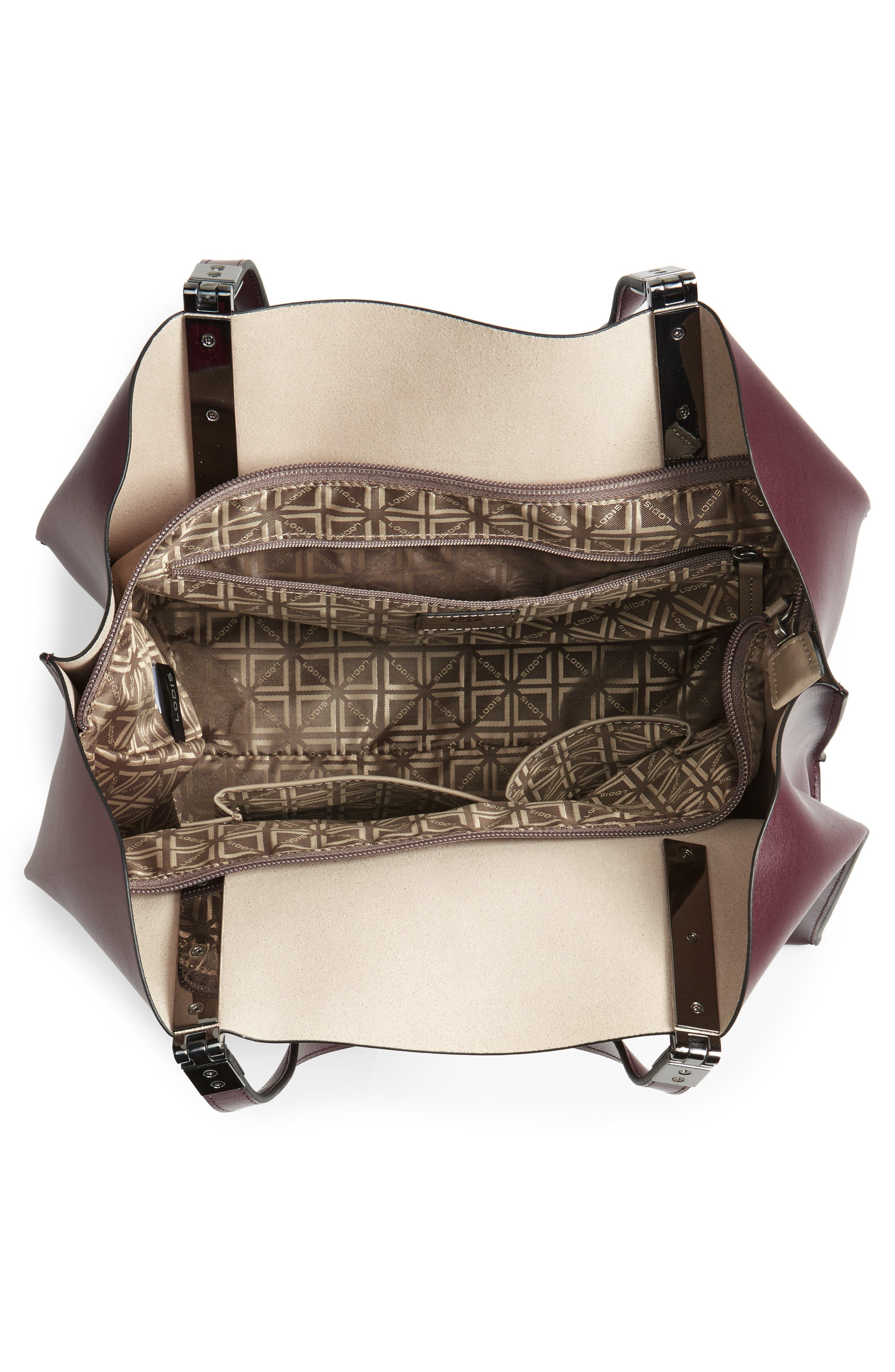 LODIS Silicon Valley Collection Under Lock & Key - Anita RFID East/West Leather Satchel,                             Alternate thumbnail 4, color,                             Chianti/ Taupe