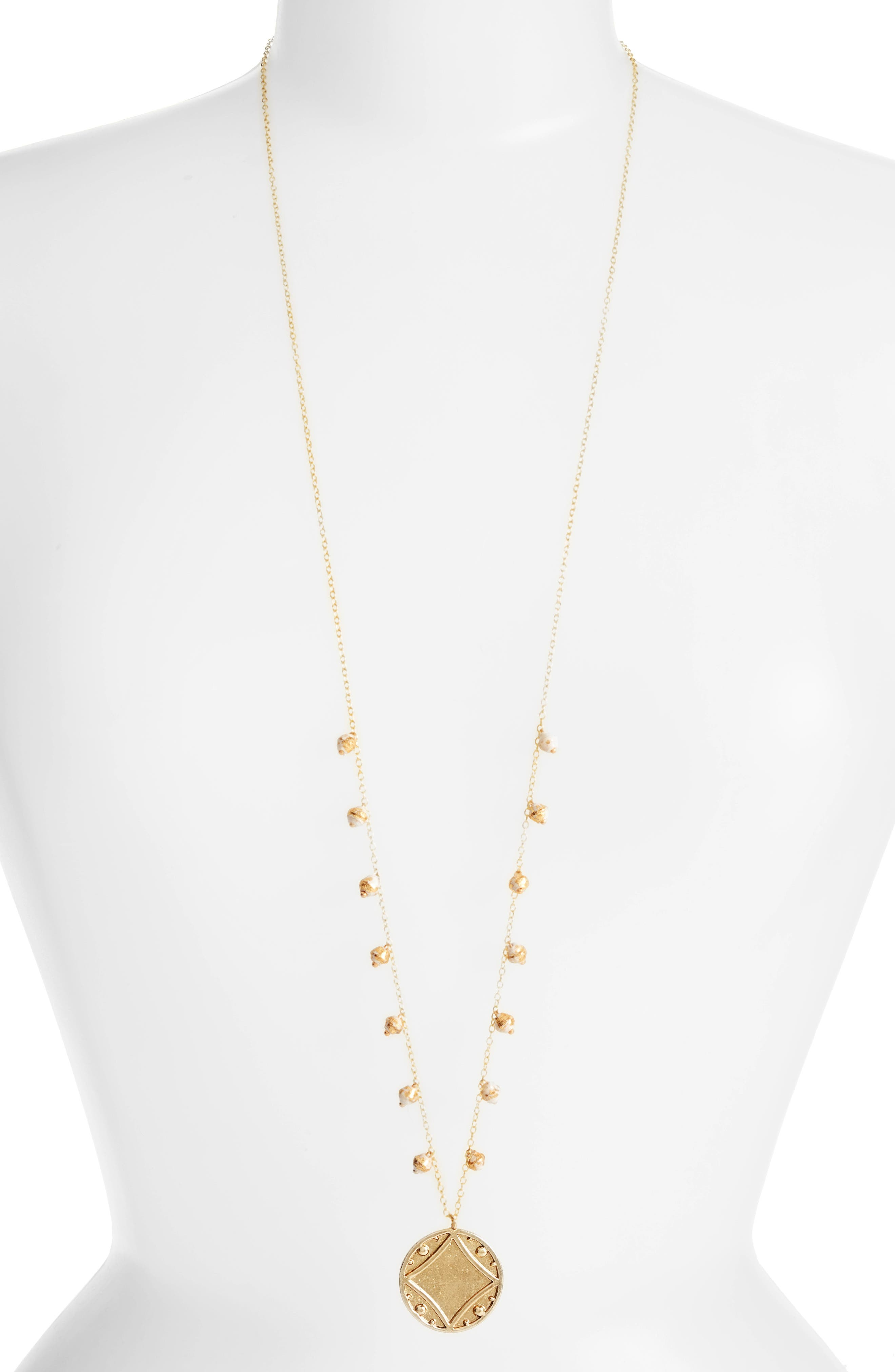 Early Light Pendant Necklace,                         Main,                         color, Cream/ Gold