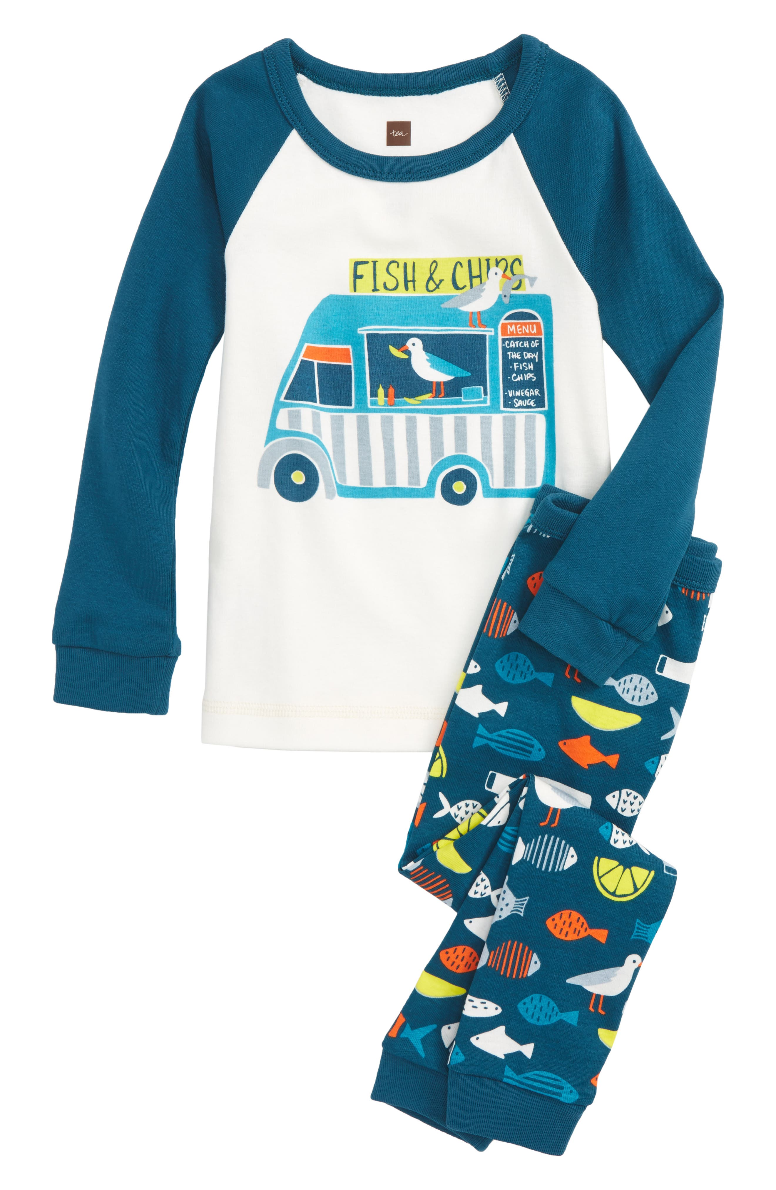 Fish & Chips Fitted Two-Piece Pajamas,                         Main,                         color, Chalk