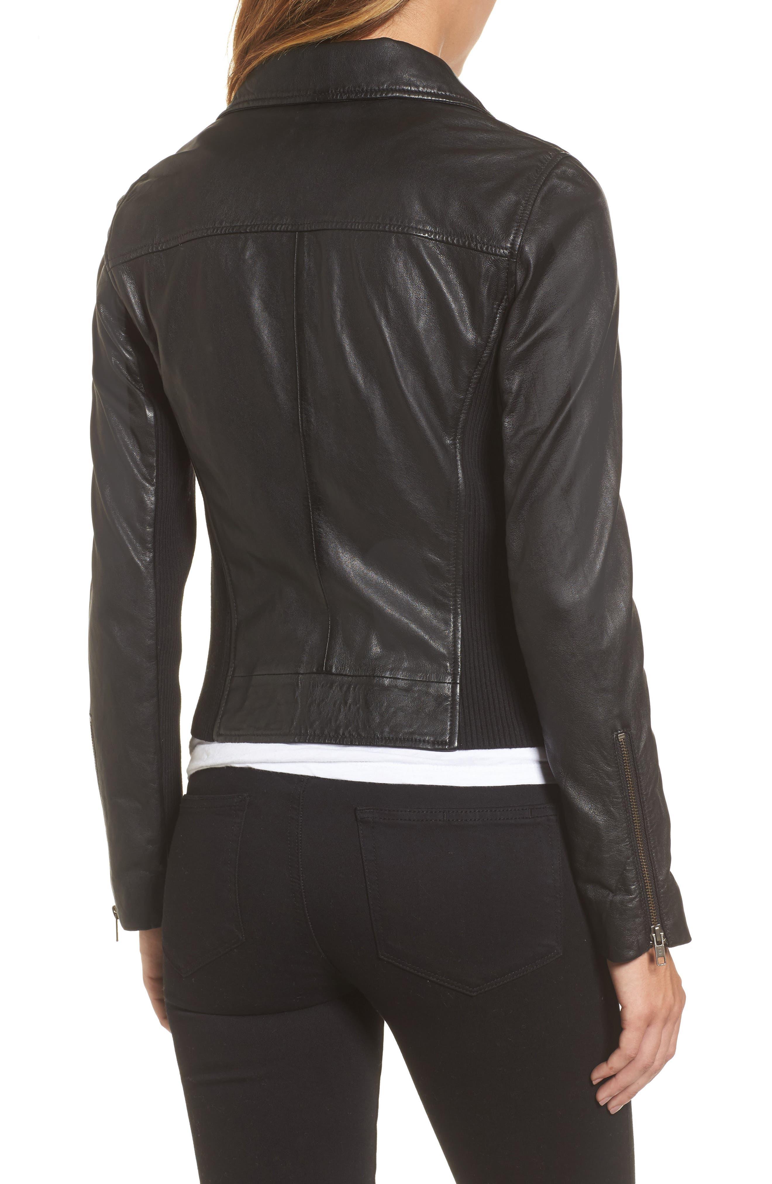 Alternate Image 2  - Caslon® Leather Moto Jacket (Regular & Petite)