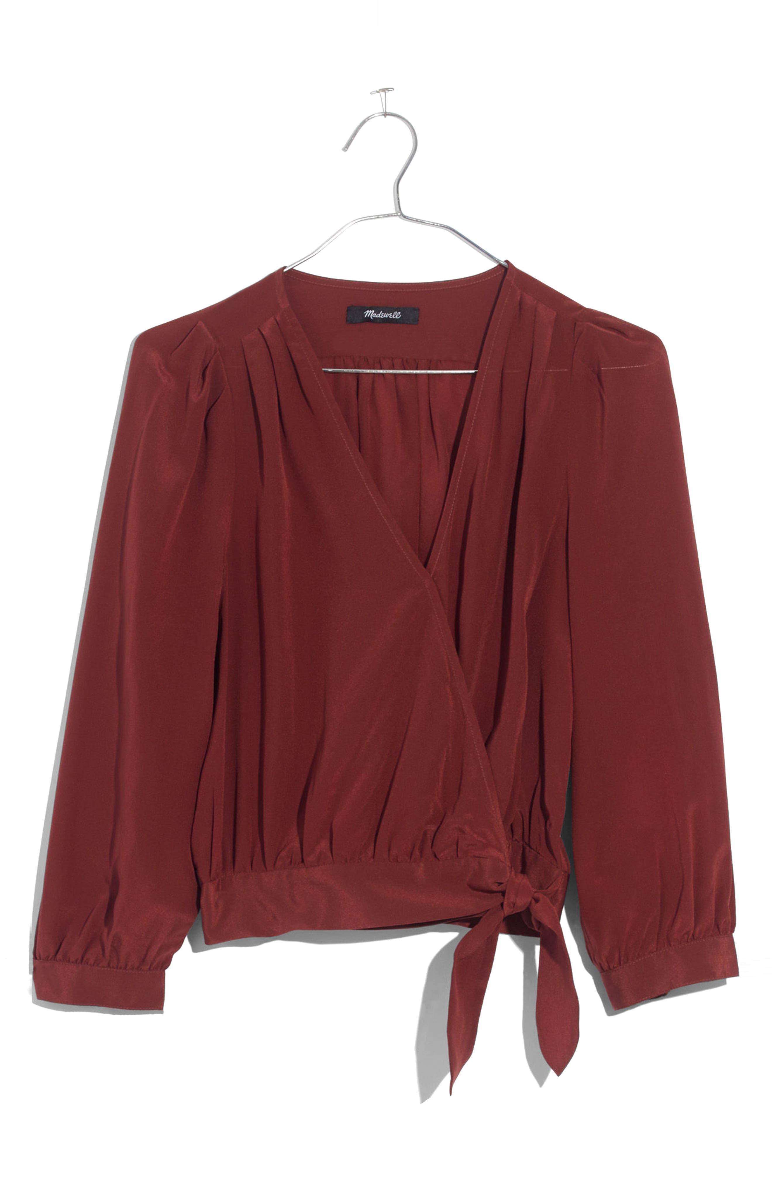 Silk Wrap Top,                         Main,                         color, Burnished Mahogany