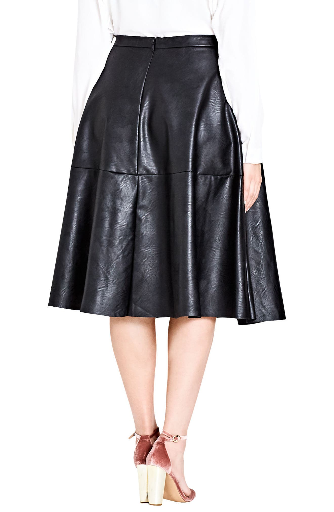 Alternate Image 2  - City Chic Faux Leather Skirt (Plus Size)
