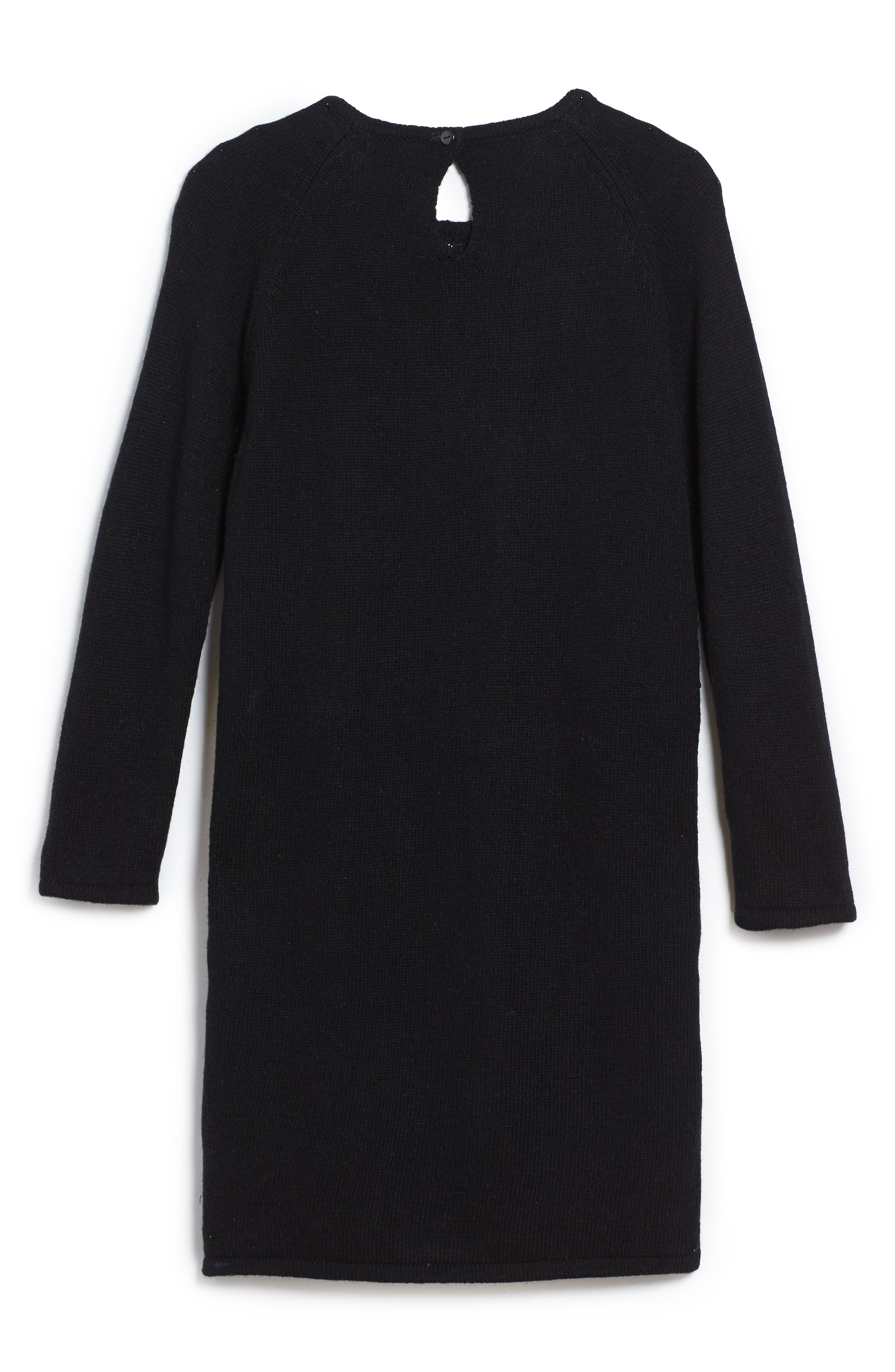 Chevron Sequin Sweater Dress,                             Alternate thumbnail 2, color,                             Black Multi
