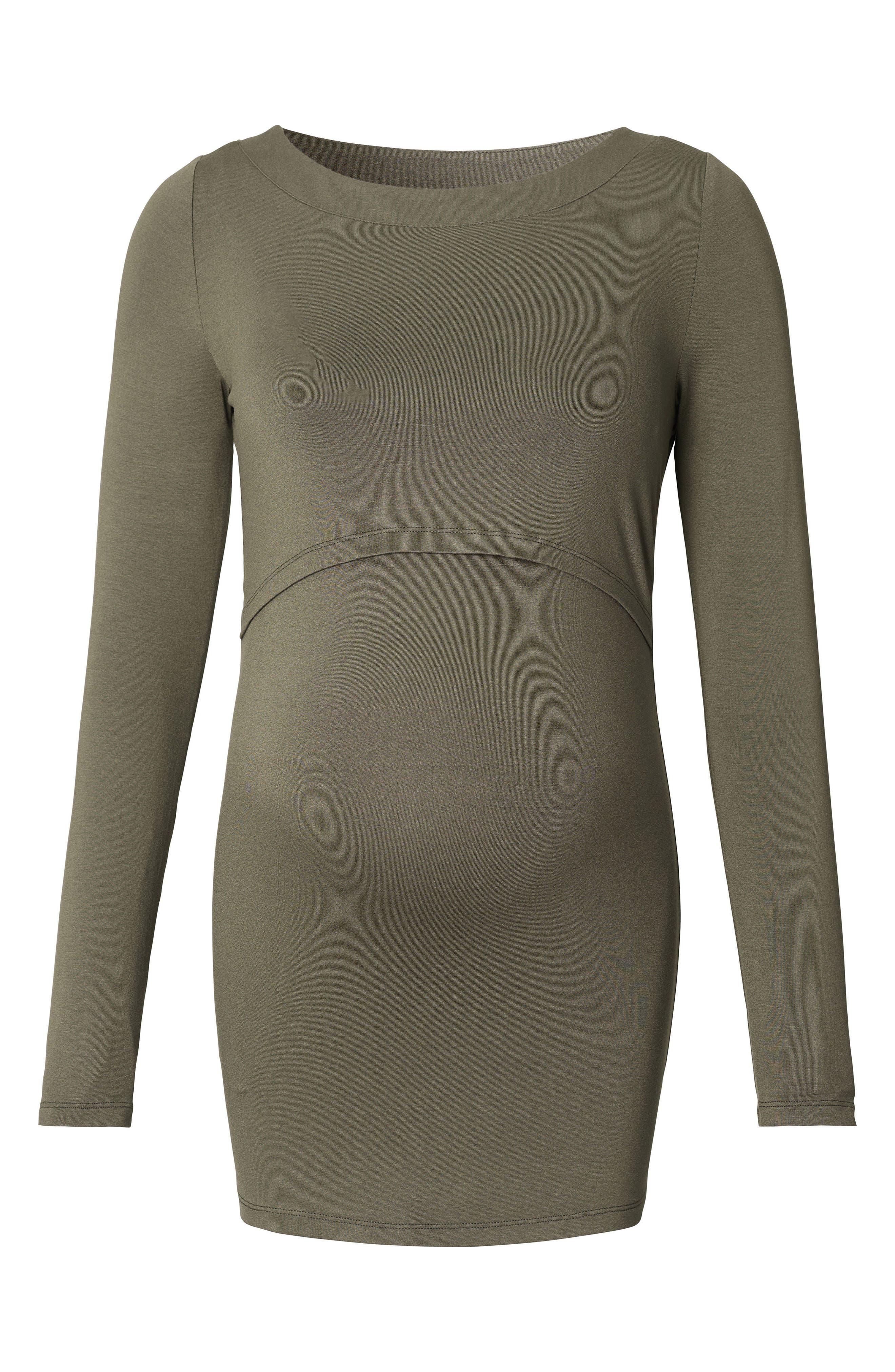 Hanna Maternity/Nursing Shirt,                         Main,                         color, Dark Army