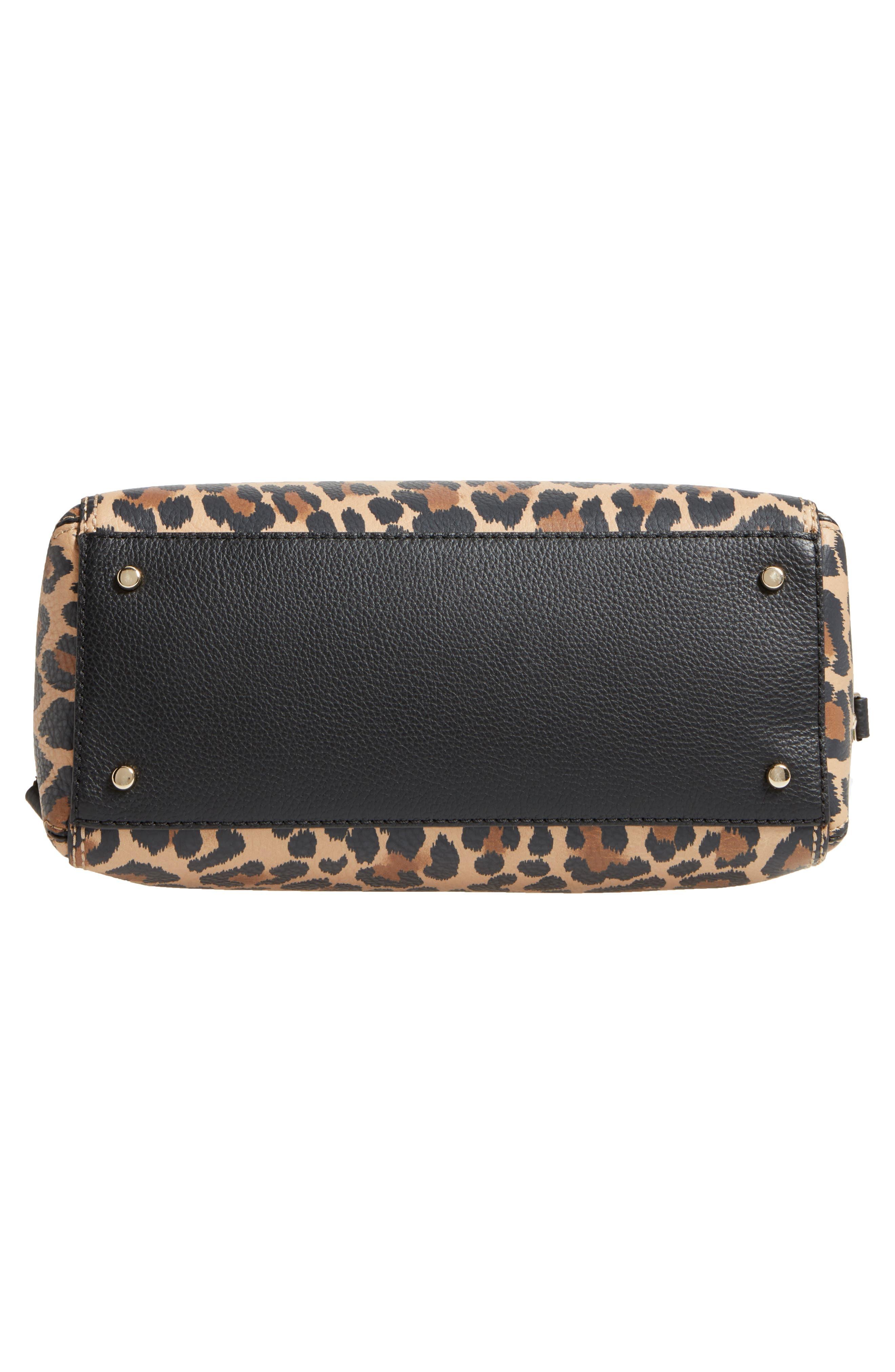 dunne lane mega lake printed leather satchel,                             Alternate thumbnail 5, color,                             Leopard