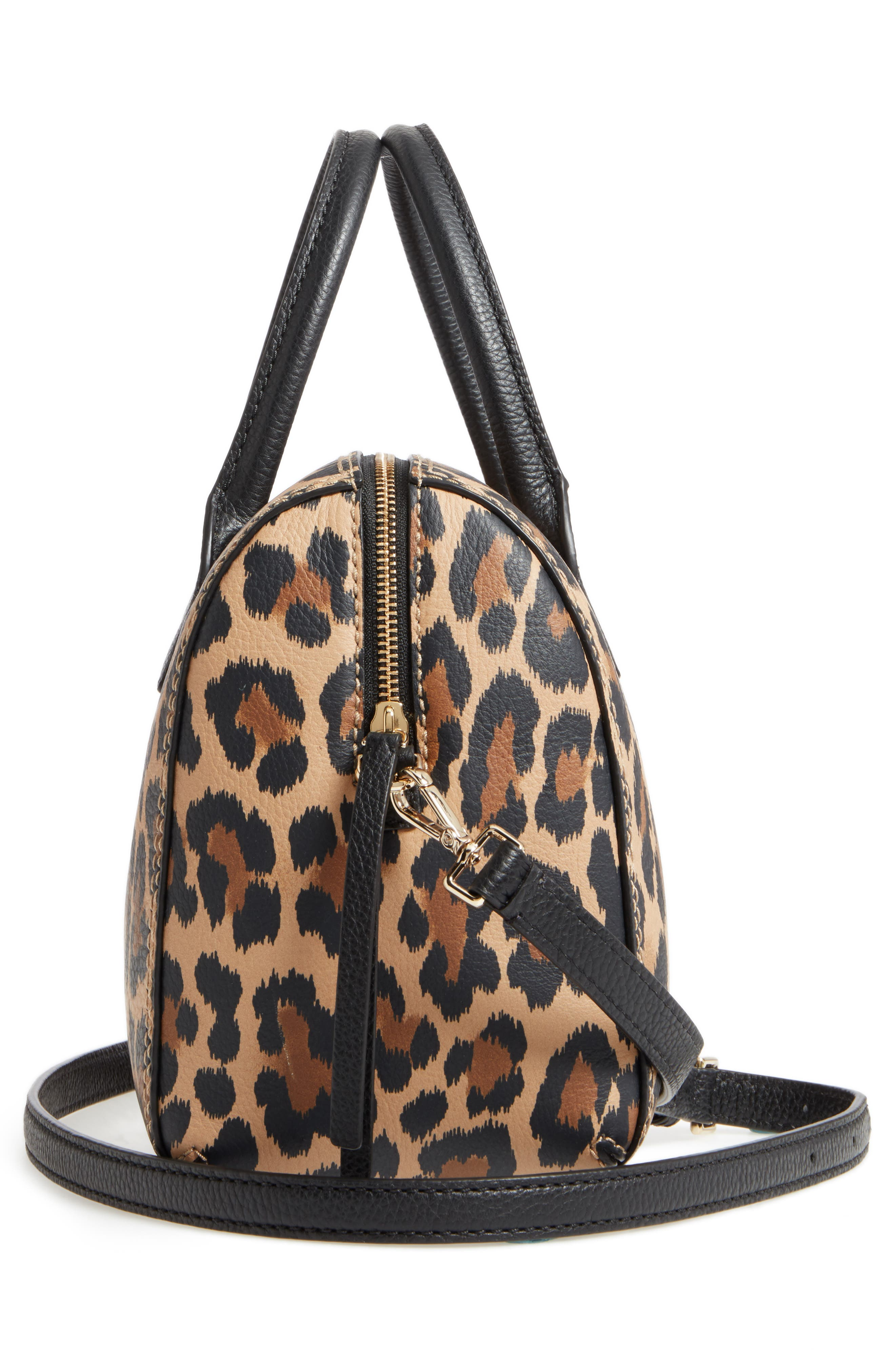 dunne lane mega lake printed leather satchel,                             Alternate thumbnail 4, color,                             Leopard