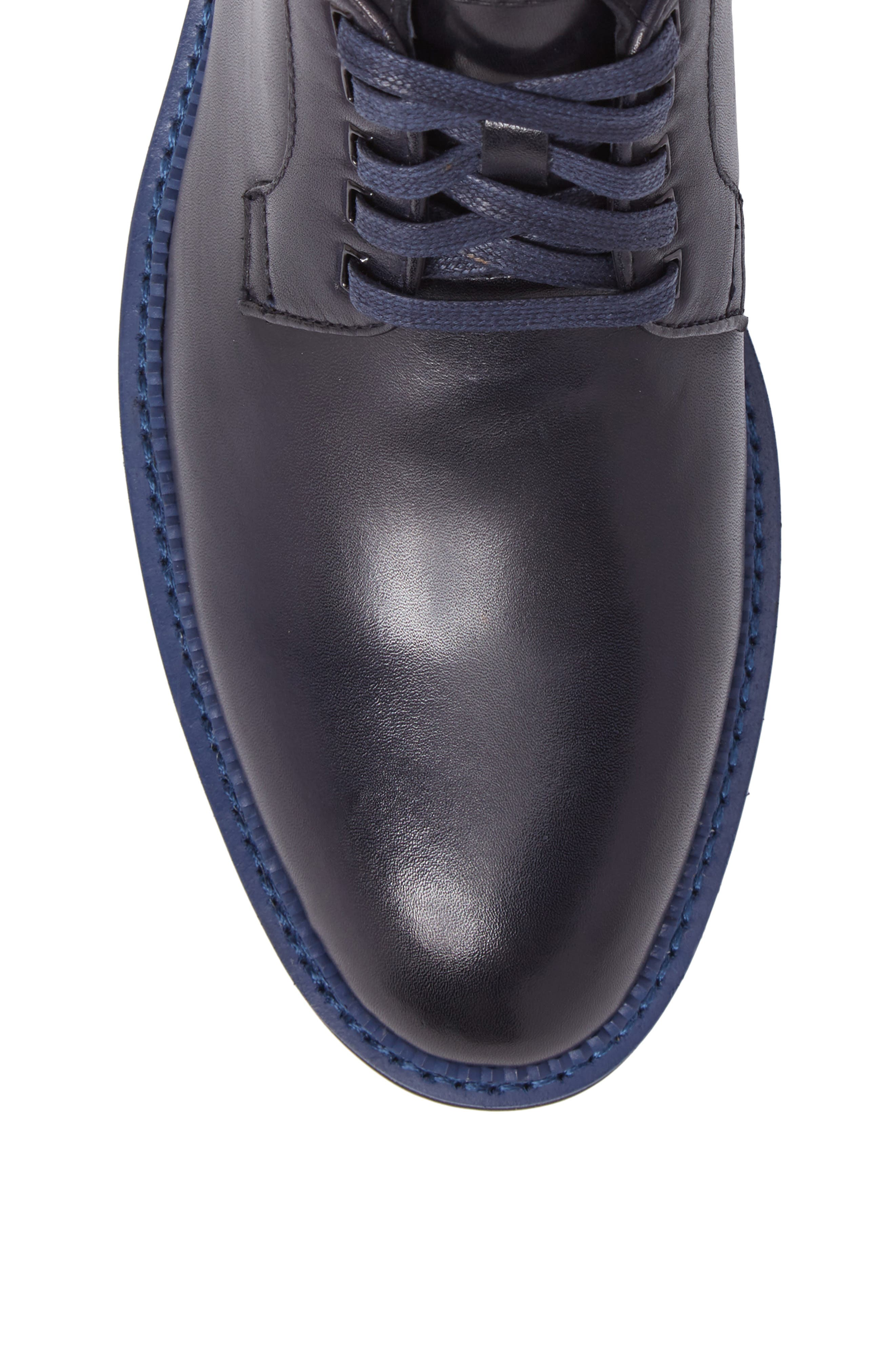 Ginko Plain Toe Boot,                             Alternate thumbnail 5, color,                             Navy Leather