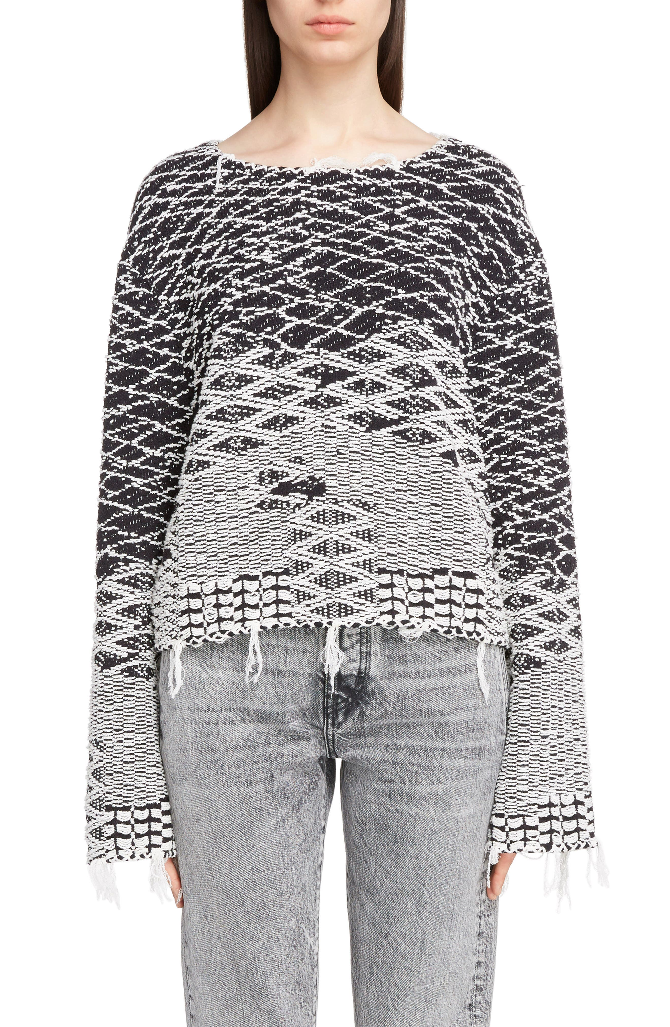 Saint Laurent Fringe Jacquard Sweater