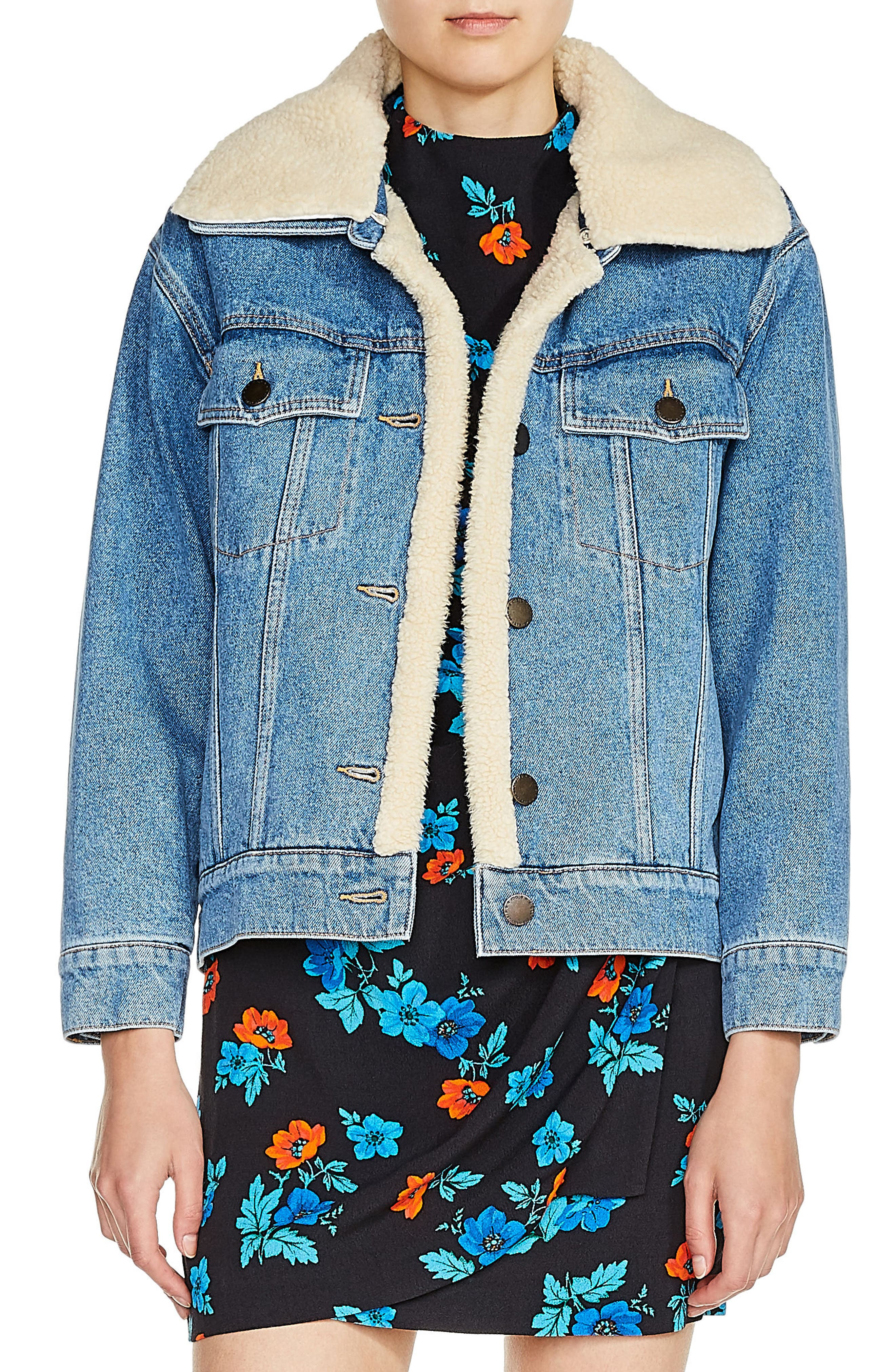 Faux Shearling Lined Denim Jacket,                         Main,                         color, Denim