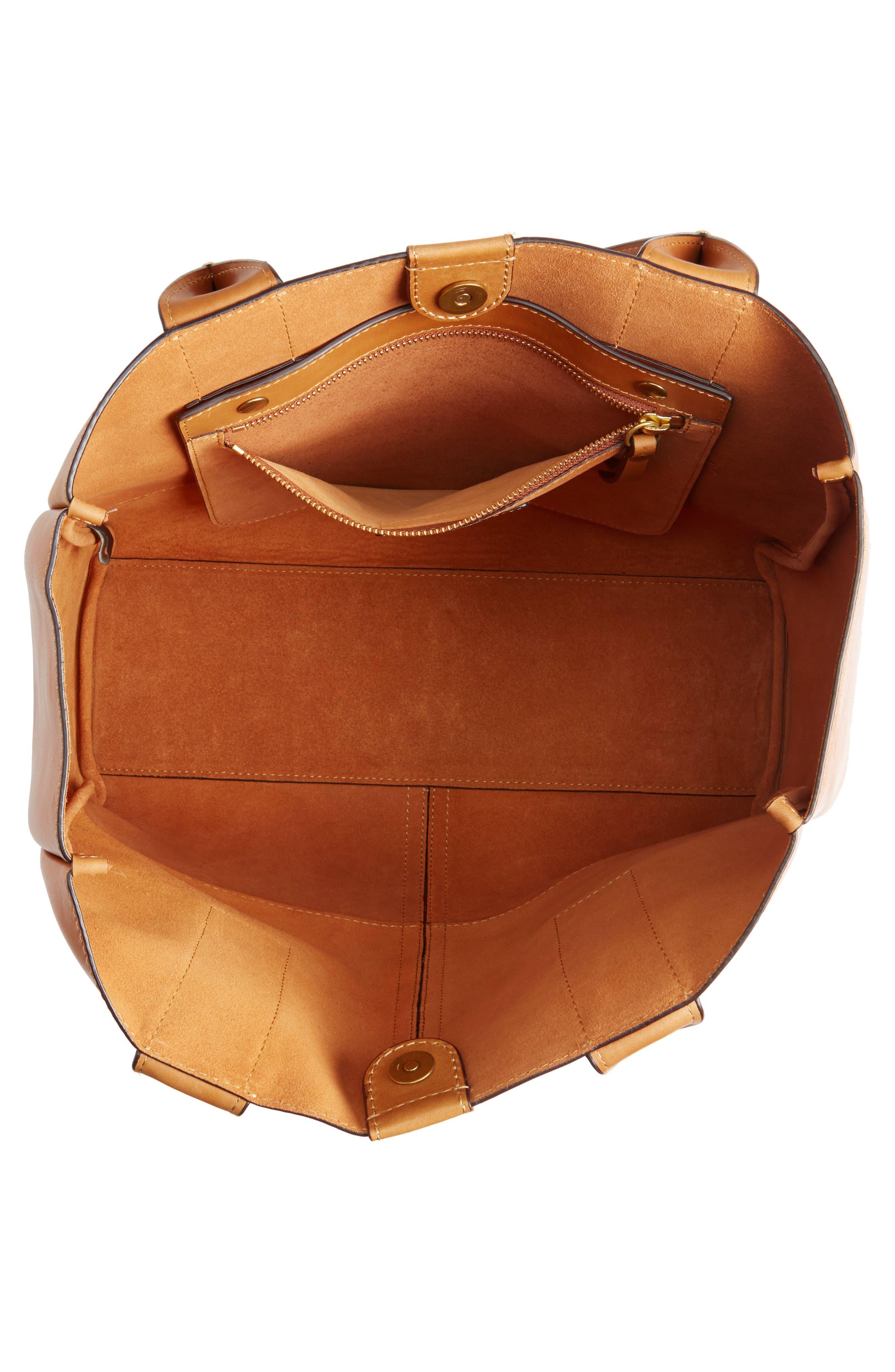 Ilana Harness Leather Shopper,                             Alternate thumbnail 4, color,                             Cognac