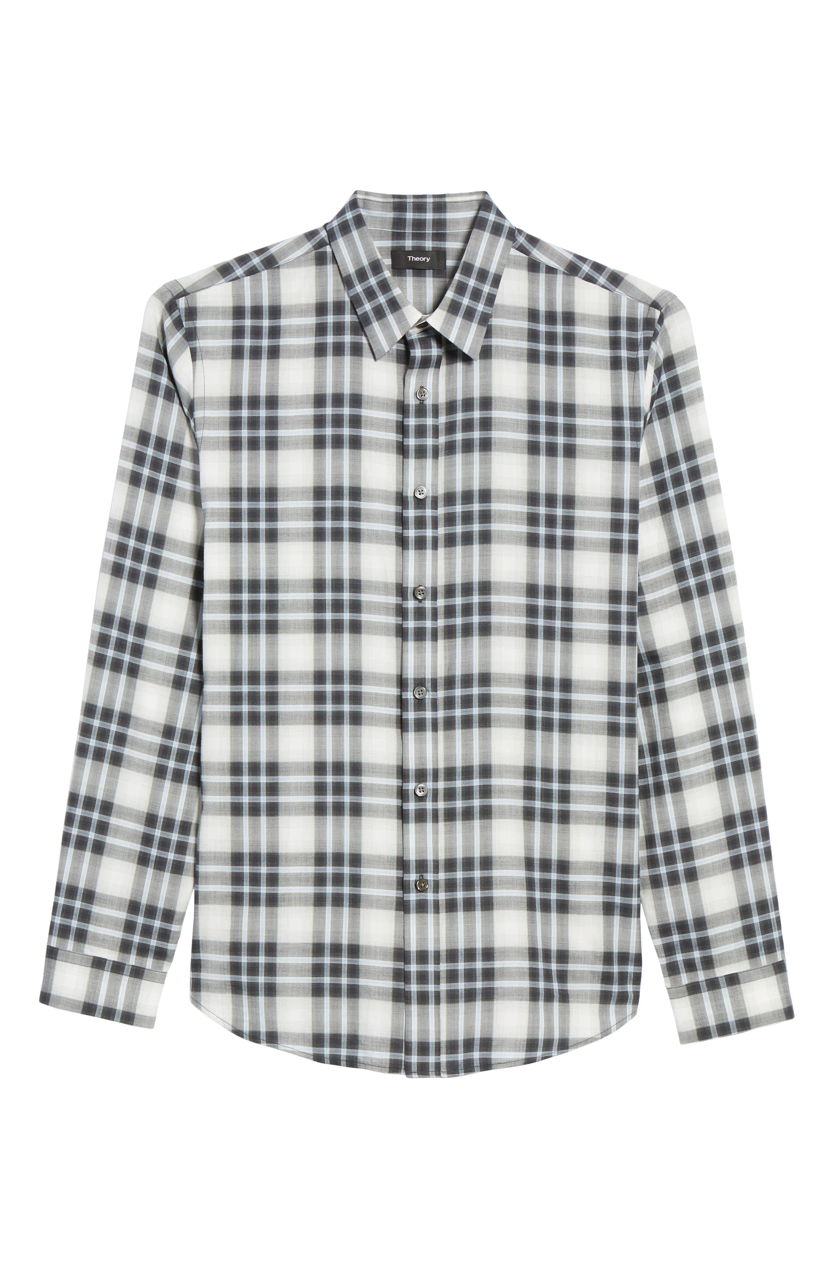 Trim Fit Plaid Sport Shirt,                             Alternate thumbnail 6, color,                             Larkspur Blue