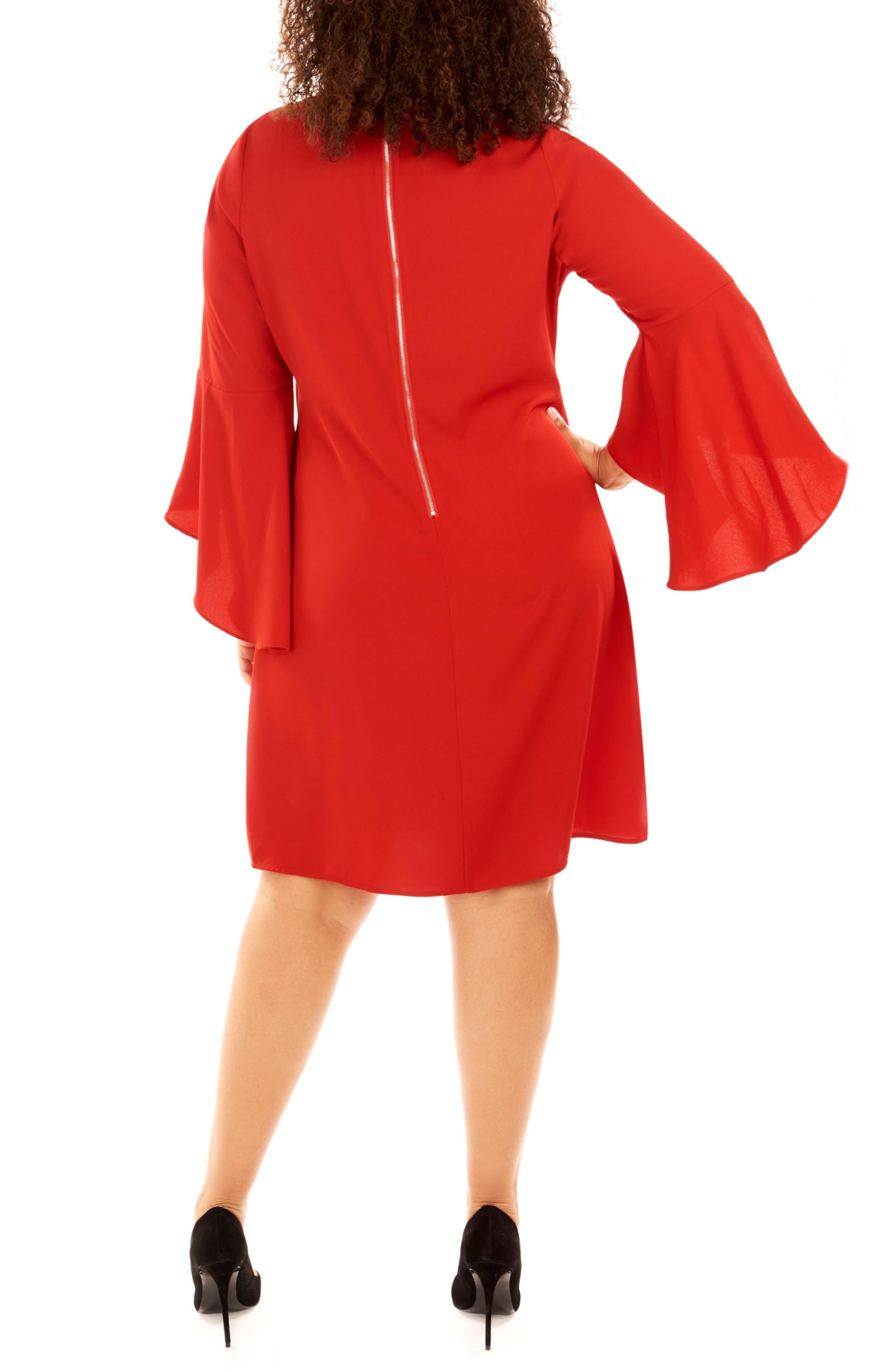 Bell Sleeve Shift Dress,                             Alternate thumbnail 3, color,                             Haute Red