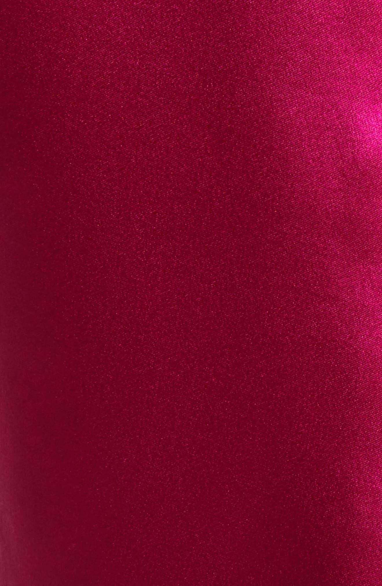 Zipper Detail Lacquered Silk Top,                             Alternate thumbnail 5, color,                             Magenta