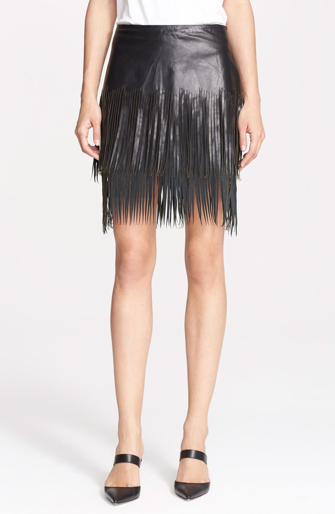 Alternate Image 1 Selected - BLK DNM 'Leather Skirt 40' Fringe Miniskirt