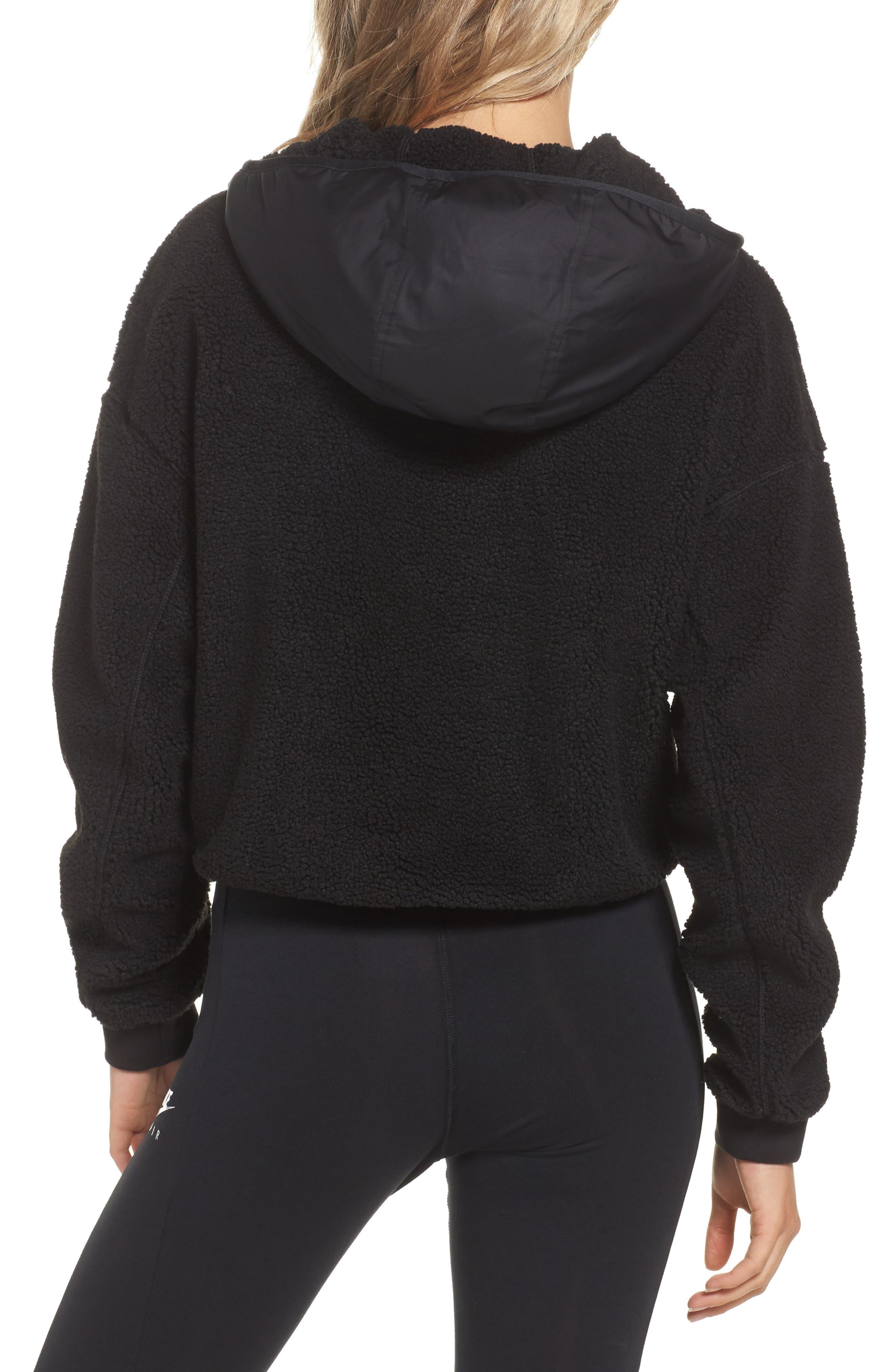 NikeLab Essential Half Zip Fleece Hoodie,                             Alternate thumbnail 2, color,                             Black/ Black