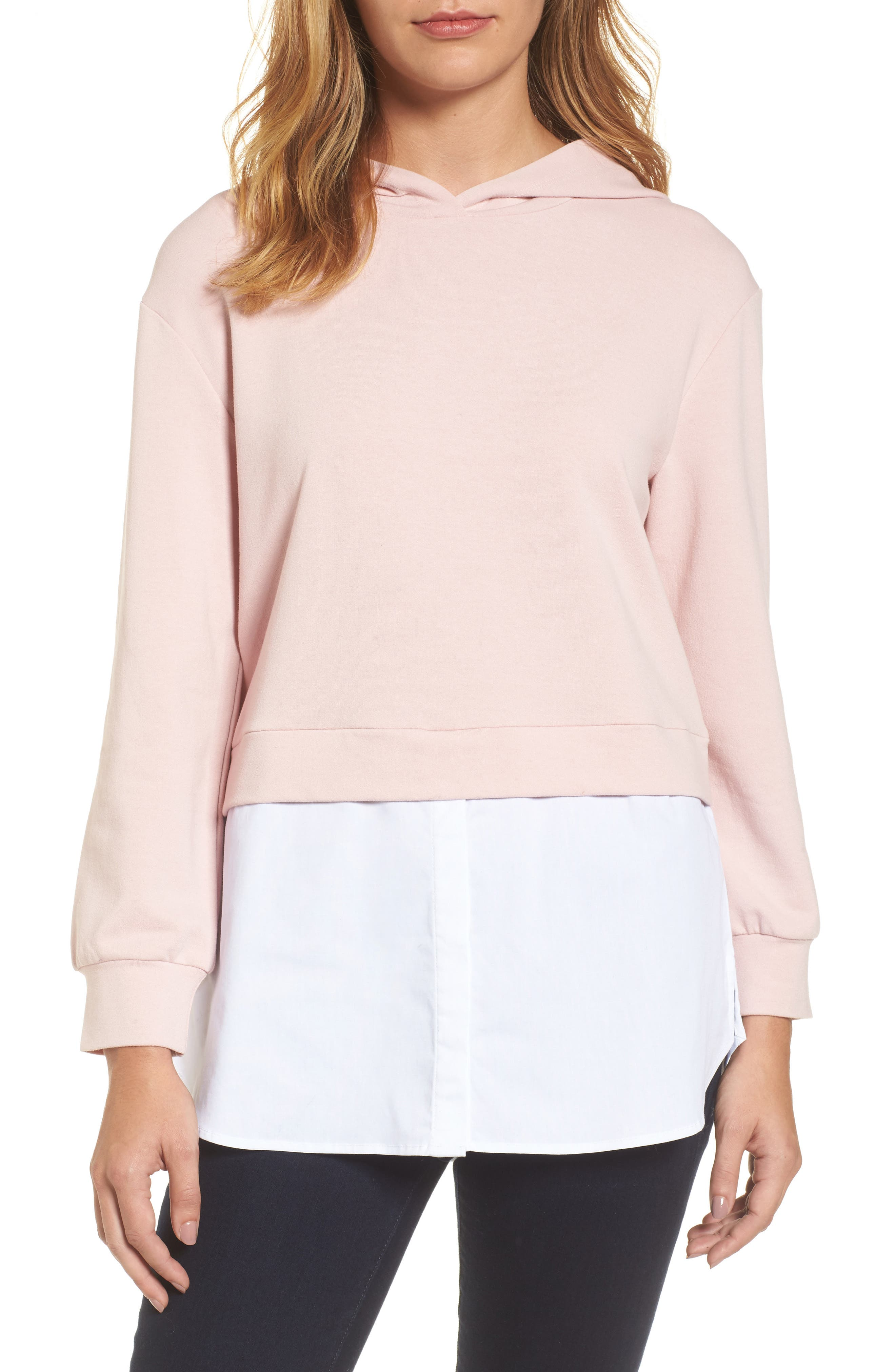 Layered Look Hoodie,                         Main,                         color, Dusty Pink