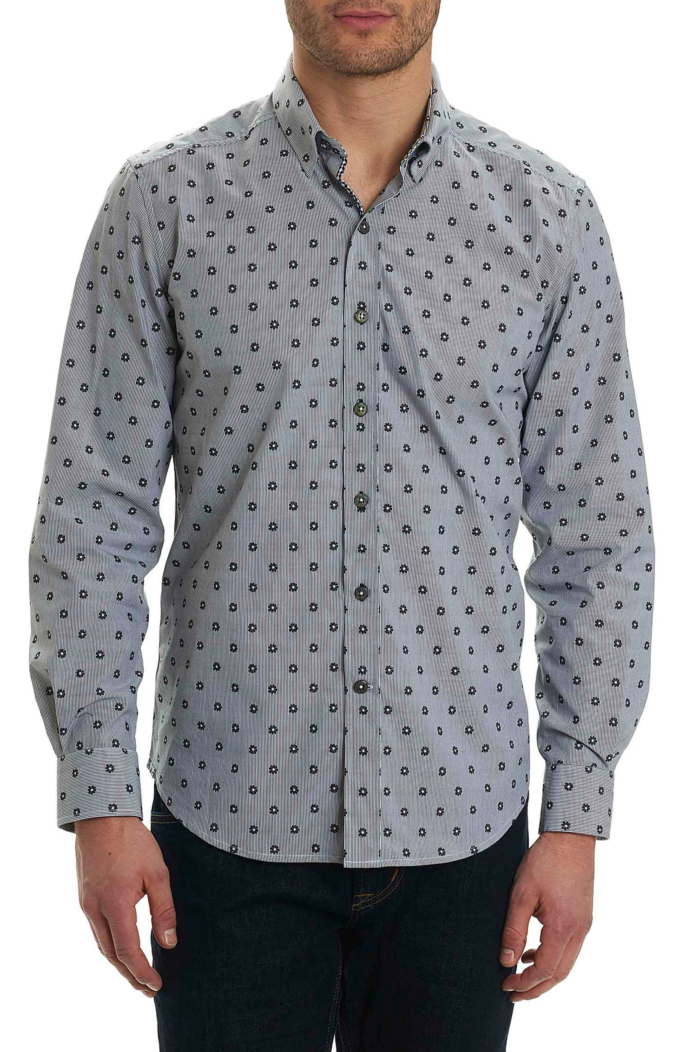 Ned Slim Fit Floral Stripe Sport Shirt,                         Main,                         color, Black