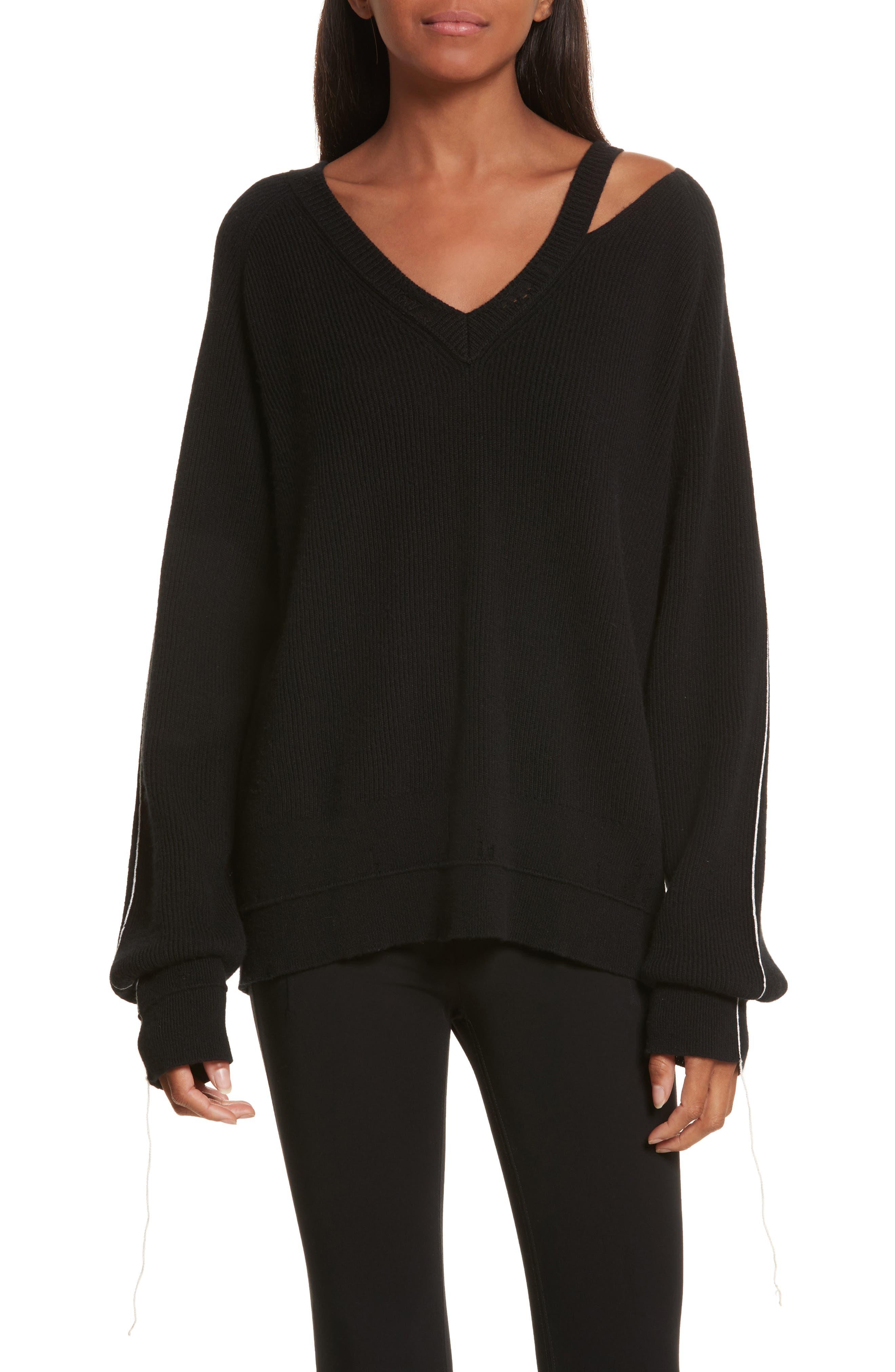 Distressed V-Neck Sweater,                         Main,                         color, Black