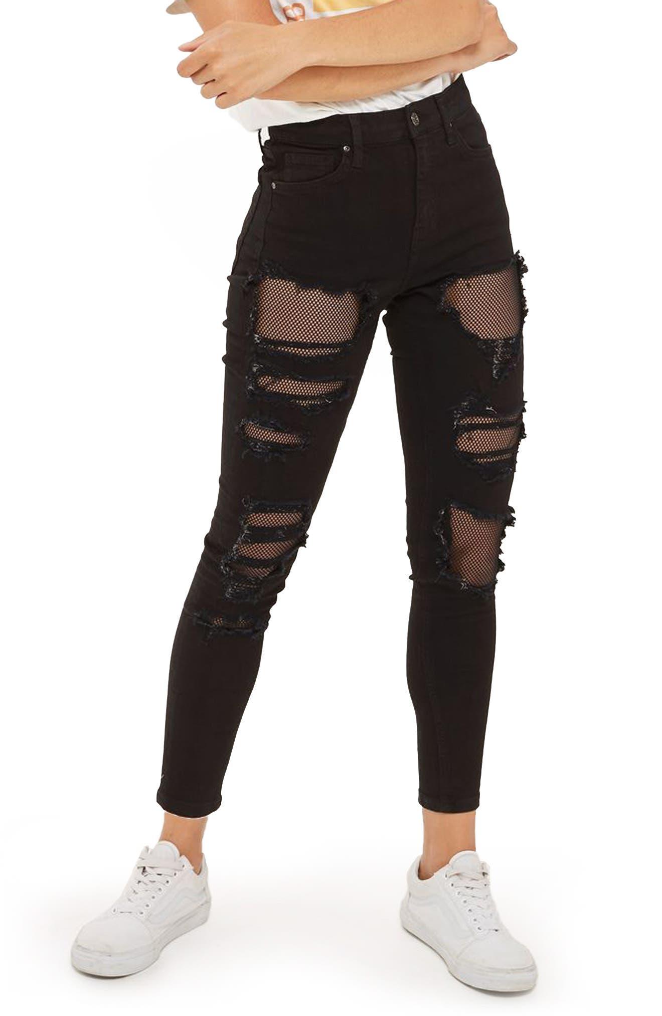 Jamie Black Fishnet Rip Skinny Jeans,                         Main,                         color, Black