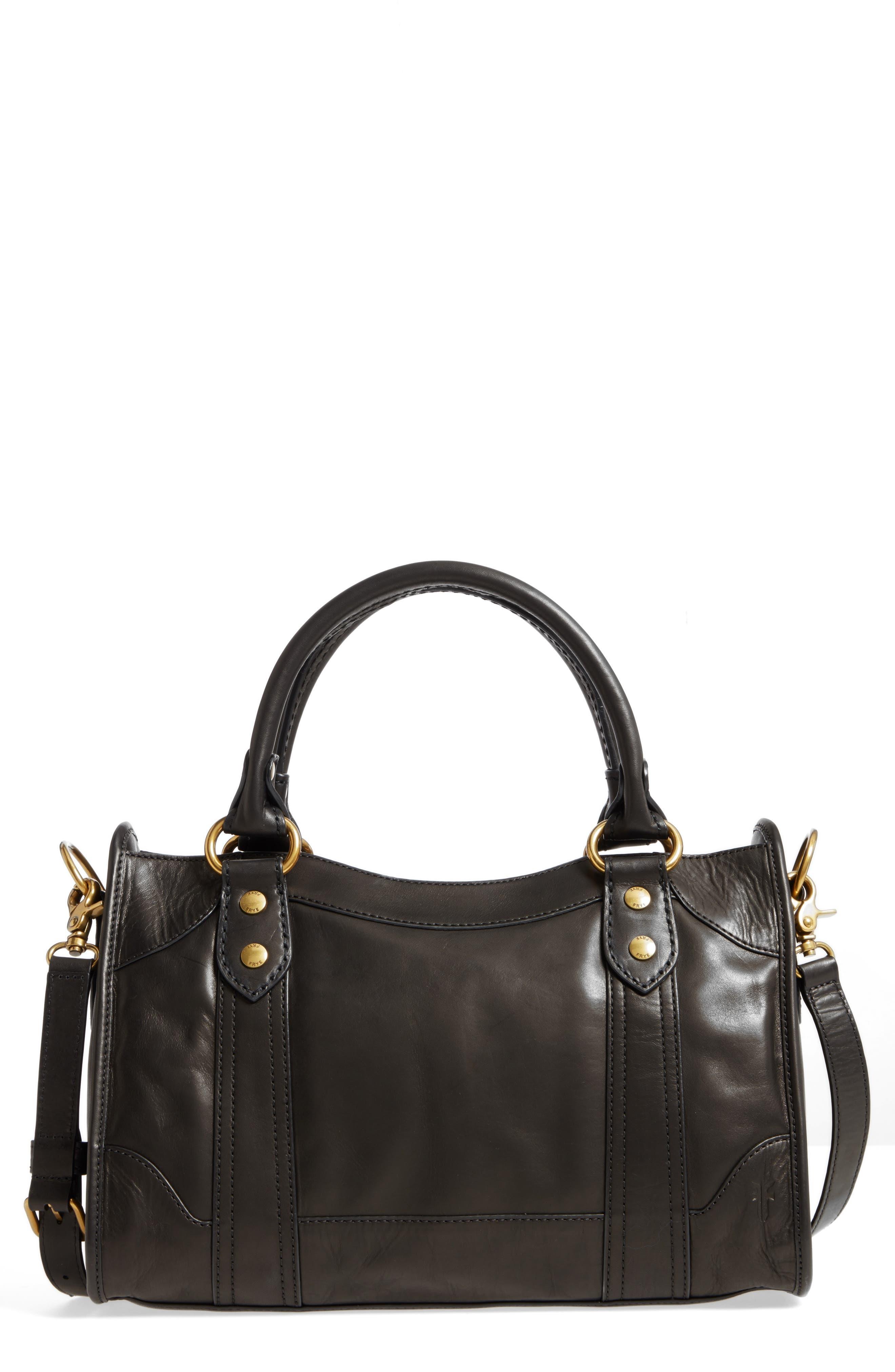 Melissa Leather Satchel,                         Main,                         color, Black