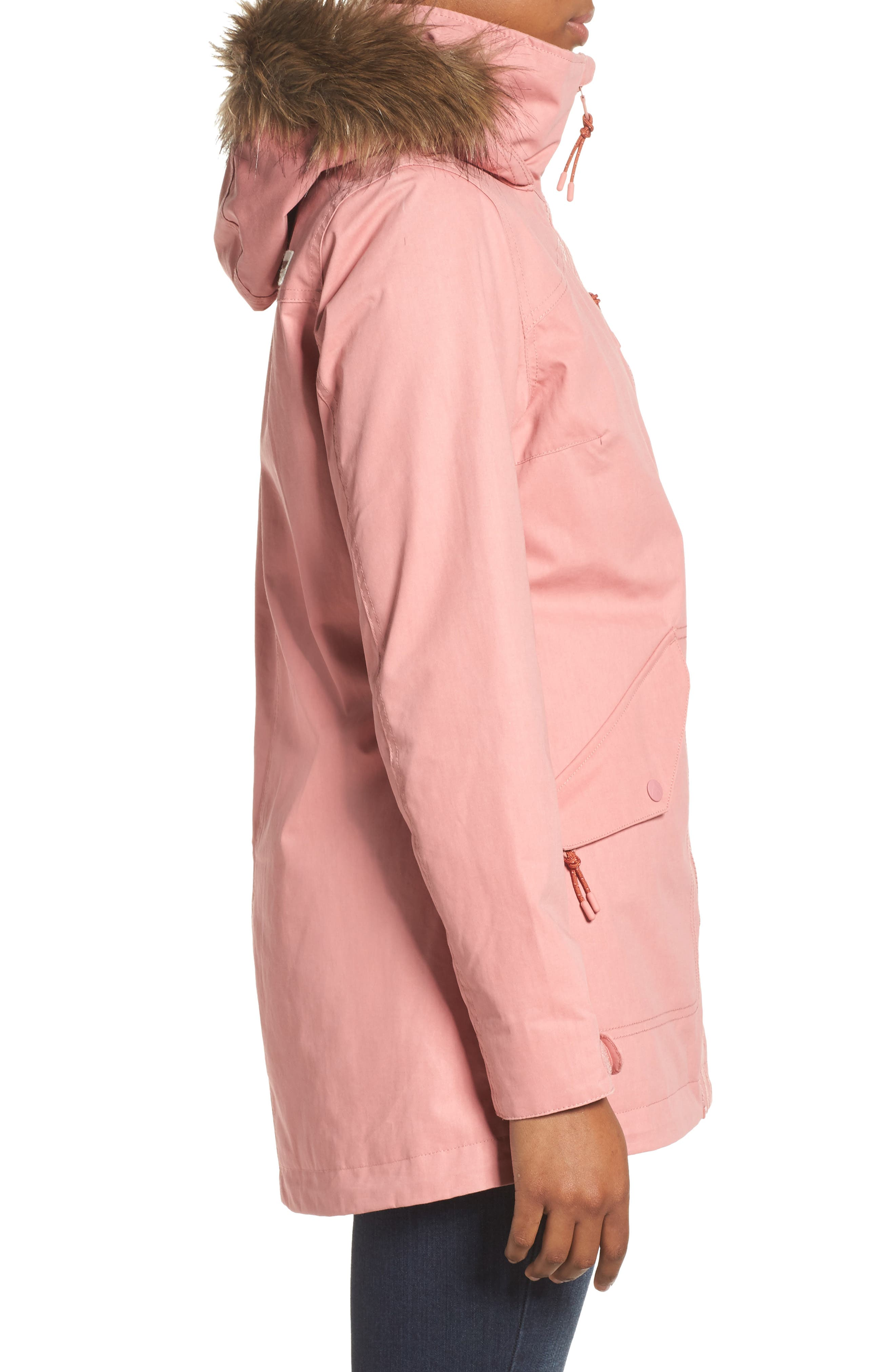 Hazel Waterproof Hooded Jacket with Removable Faux Fur Trim,                             Alternate thumbnail 3, color,                             Dusty Rose Wax