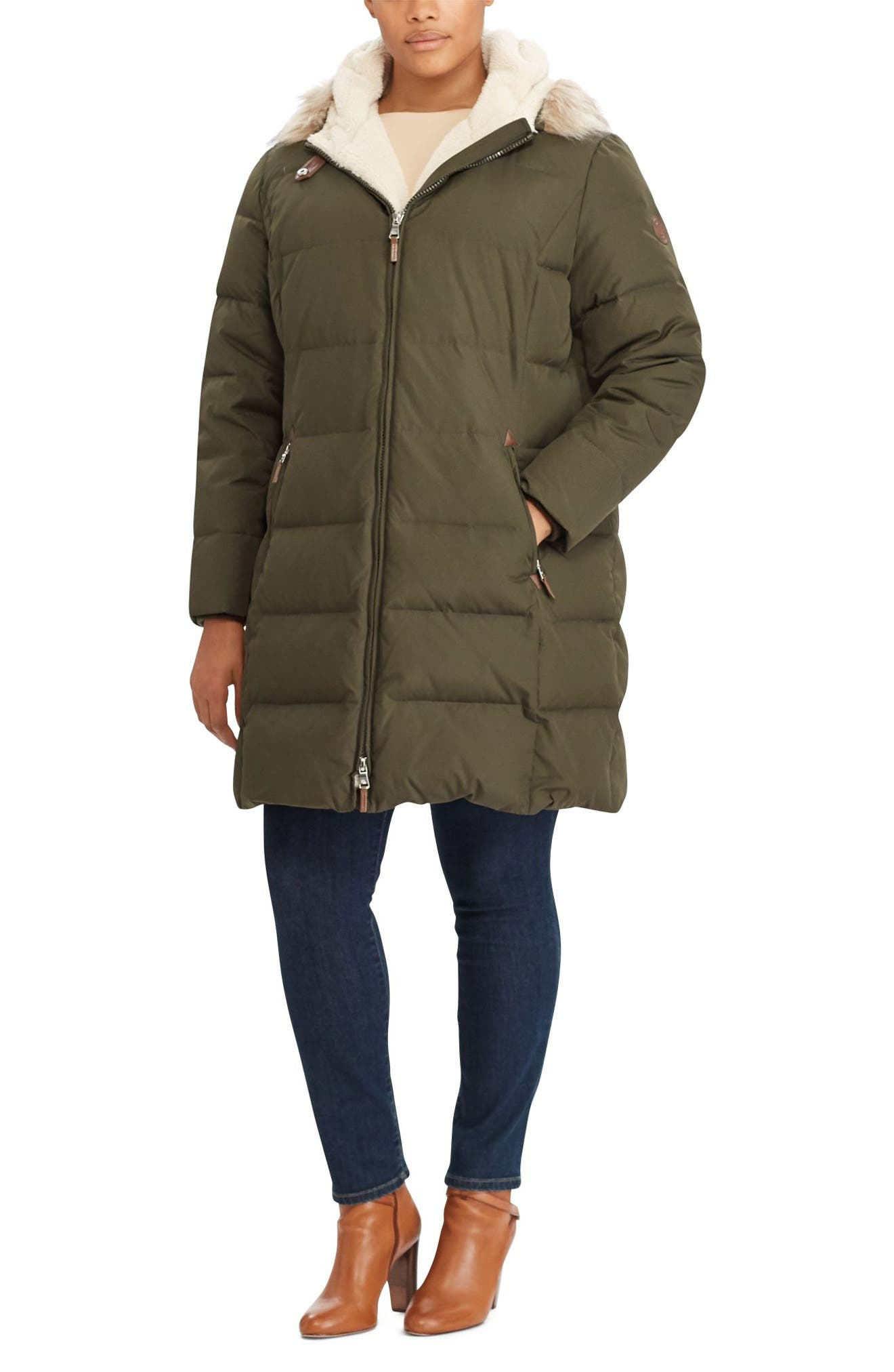Quilted Down & Feather Fill Parka with Faux Fur Trim,                             Alternate thumbnail 3, color,                             Litchfield Loden