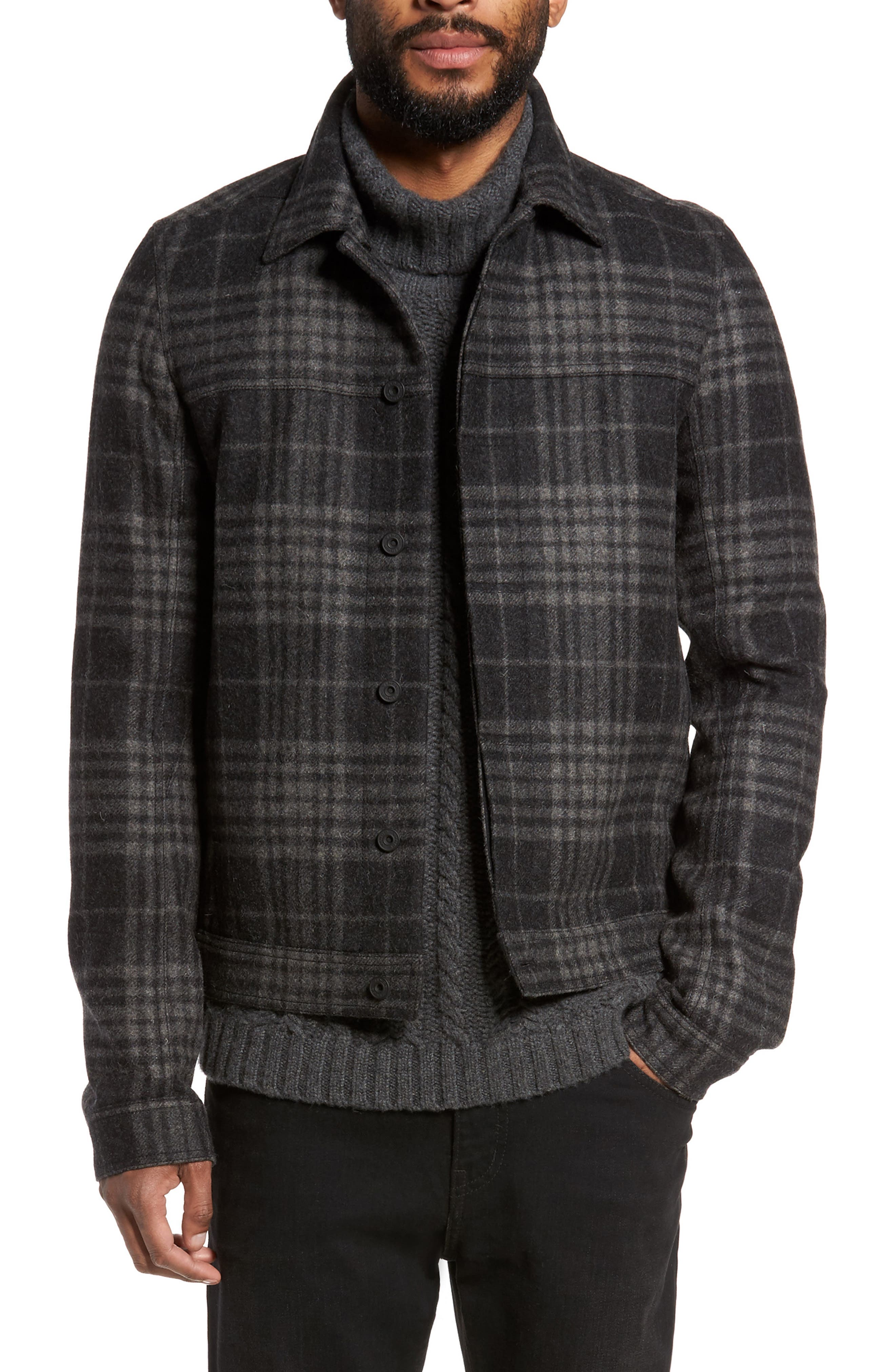 Plaid Trucker Jacket,                         Main,                         color, Charcoal